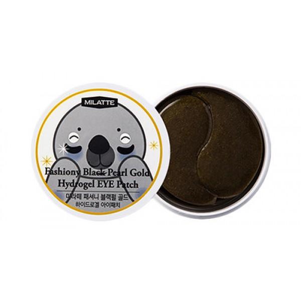 патчи для кожи вокруг глаз с черным жемчугом и золотом milatte fashiony black pearl gold hydrogel eye patchFASHIONY BLACK PEARL GOLD HYDROGEL EYE PATCH. Патчи для кожи вокруг глаз с черным жемчугом и золотом<br><br>Патчи с выраженным лифтинговым и разглаживающим действием предназначены для бережного ухода за нежной кожей вокруг глаз, хотя, могут использоваться и на других проблемных участках с морщинами (носогубные складки, переносица и т.д.). Гидрогелевые патчи имеют специальную форму, похожи на изогнутые лепестки, которые плотно прилегают к коже и естественным образом в течение долгого времени насыщают ее питательными компонентами, проникающими в самые глубокие слои. Постепенно нагреваясь от кожи, патчи усиленно воздействуют и оказывают мощное омолаживающее действие.<br><br>Патчи Fashiony Black Pearl Gold Hydrogel Eye Patch от Milatte предназначены для разглаживания «гусиных лапок», способствуют повышению упругости кожи, устраняют темные круги и мешки под глазами, оказывают лифтинговое действие. При этом патчи визуально сглаживают морщины, как бы заполняя их изнутри, благодаря смягчаются кожные заломы. Такой эффект заметен уже после первого применения.<br><br>Экстракт черного жемчуга – ценный компонент природного происхождения. Его состав уникален: комплекс незаменимых аминокислот, микроэлементов и витаминов способствует восстановлению жизненно важных функций кожи, ускоряет обновление клеток, благодаря чему кожа омолаживается. Кроме того, оказывает антиоксидантное действие, обеспечивает естественную защиту кожи от УФ-излучения. Экстракт жемчуга способствует бережному осветлению, разглаживанию и подтягиванию кожи, делает ее более молодой и ухоженной.<br><br>Золото улучшает микроциркуляцию крови, ативизирует ее приток к клеткам кожи, ускоряет выработку собственного коллагена и эластина, способствует накоплению гиалуроновой кислоты, повышает активность фибробластов, благодаря чему запускаются регенерационные процессы в клетках кожи. Золото помогает поддерживать оптим