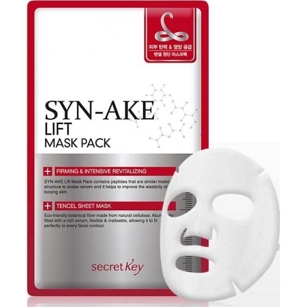 маска-лифтинг с пептидами змеиного яда secret key syn-ake lift mask packSYN-AKE Lift Mask Pack. Маска-лифтинг с пептидами змеиного яда повторяет эффект ботокса, помогая справиться с мимическими и возрастными морщинами. Маска с пептидом SYN-AKE является безынъекционным аналогом уколов ботокса: подтягивает кожу, разглаживает морщины, делает кожу эластичной, мягкой, бархатистой. Отбеливающие компоненты выравнивают тон кожи, делая менее заметными пигментные пятна, веснушки, устраняют покраснения. Регулярное использование маски, а также других средств по уходу линии SYN-AKE Anti Wrinkle &amp;amp; Whitening позволяет заметно замедлить старение кожи.<br><br>Маска содержит пептид SYN-AKE, который действует в качестве змеиного яда. Компонент помогает расслабить лицевые мышцы и блокировать их сокращение. Такое свойство уменьшает количество и глубину морщин, препятствует образованию новых. Экстракт алоэ вера ускоряет заживления, снимает воспаления и раздражения. Алоэ интенсивно увлажняет кожу, устраняет излишки жира, выводит загрязнения и сокращает расширенные поры. Масло ши интенсивно смягчает и увлажняет кожу, обогащает её жирными кислотами и витаминами, разглаживает структуру и улучшает внешний вид. Масло стимулирует кровообращение, ускоряет обмен веществ и активизирует работу иммунитета.<br><br>Одно применение маски позволяет быстро разгладить рельеф кожи, выровнять овал лица и уменьшить глубину морщин. Таким образом, средство помогает быстро привести лицо в порядок перед выходом в свет или важным мероприятием. Маска очень проста в применении — достаточно просто наложить её на лицо и подождать некоторое время. Средство не требует долгих приготовлений и дополнительных процедур, благодаря чему, его можно использовать в любой обстановке. Компактная упаковка позволяет брать продукт с собой даже во время путешествий.&amp;nbsp;<br><br>Способ применения: Извлеките салфетку из пачки, разверните и наложите на лицо, в соответствии с прорезями. Через полчаса удалите маску, а остатки 