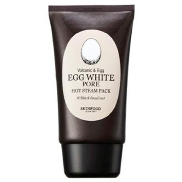 маска для лица с разогревающим эффектом для очищения пор skin food  egg white pore hot steam pack