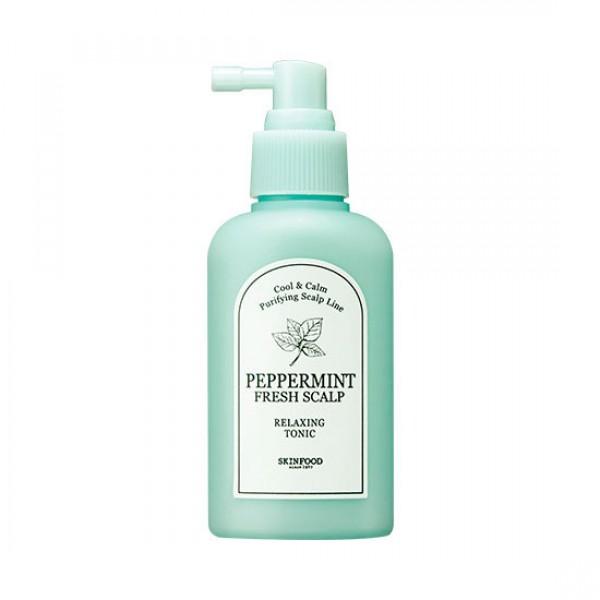 тоник- ессенция для кожи головы освежающая skin food  peppermint fresh scalp relaxing tonicPeppermint Fresh Scalp Relaxing Tonic. Тоник- ессенция для кожи головы освежающая<br><br>Летом и зимой, весной и осенью – круглый год этот тоник будет дарить коже головы освежающий комфорт. Особенно незаменим он летом, а также в зимний период, когда теплые шапки вызывают чувство дискомфорта, а волосы быстрее грязнятся.<br><br>Легкое интенсивное средство из мятной линии, оказывает прекрасное успокаивающее, охлаждающее, расслабляющее и освежающее действие, что так необходимо для чувствительной и раздраженной кожи головы. Устраняет чувство дискомфорта, предупреждает быстрое загрязнение волос.<br><br>Экстракт мяты в составе тоника успокаивает и охлаждает чувствительную и раздраженную кожу головы, снимает зуд, освежает и увлажняет, нормализует обменные процессы в тканях, эффективно борется с чрезмерной жирностью кожи головы, а также защищает от воздействия негативных факторов окружающей среды.<br><br>Также в составе тоника экстракты цитрусовых, портулака огородного, гамамелиса, масла оливы, эвкалипта, кожуры мандарина и другие натуральные компоненты, которые увлажняют и питают, дарят волосам чувство свежести, устраняют перхоть, восстанавливают поврежденную структуру волос.<br><br>Может применяться ежедневно. Для любого типа волос.<br><br>Применение тоника на регулярной основе позволит поддерживать в клетках кожи оптимальный PH-баланс, также регулируется секреция кожного сала. В результате волосы будут дольше оставаться чистыми.<br><br>В состав тоника не включены парабены и искусственные красители.<br><br>Способ применения: На чистую кожу головы распылить средство и легонько помассировать.<br><br>Объем: 120 мл<br>