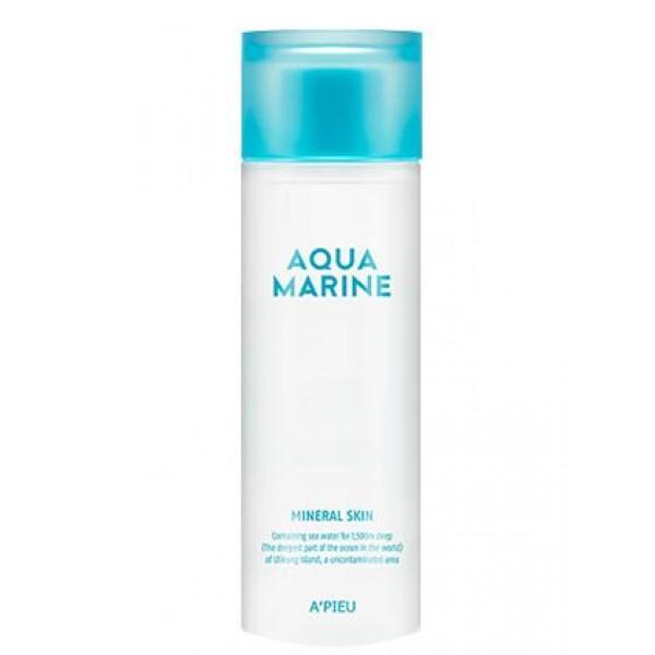 увлажняющий тонер с минералами apieu aqua marine mineral skinAqua Marine Mineral Skin.&amp;nbsp;Увлажняющий тонер с минералами<br><br>Увлажняющий и освежающий, успокаивающий и тонизирующий тонер для ухода за кожей после ее очищения. Тонер предупреждает обезвоживание кожи и появление шелушений, способствует отшелушиванию омертвевших частиц эпидермиса, удаляет ороговевший слой, благодаря чему новые, здоровые клетки быстрее поднимаются на поверхность кожи, она становится более гладкой и свежей.<br><br>Тонер на 30% состоит из чистейшей морской воды, а также содержит морские водоросли и натуральные экстракты. Чистейшая морская вода, добываемая с глубины 1500 метров, насыщает кожу невероятным минеральным коктейлем, благодаря которому улучшается микроциркуляция крови, нормализуется кислотно-щелочной баланс, клетки кожи очищаются от шлаков и токсинов, уменьшается отечность лица. Морская вода тонизирует и одновременно успокаивает кожу, устраняет зуд и раздражения, ускоряет регенерацию клеток, способствует повышению упругости и разглаживанию морщин, улучшает цвет лица.<br><br>Способ применения: После очищения кожи нанести средство ватным диском или кончиками пальцев.<br><br>Объём: 180 мл<br>