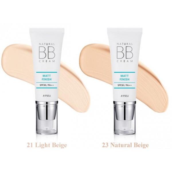 матирующий вв-крем apieu natural matt finish bb creamNatural Matt Finish BB Cream. Матирующий ВВ-крем<br><br>ББ крем с матирующим эффектом выравнивает рельеф кожи и предотвращает появление жирного блеска. Кожа становится мягкой и гладкой, лицо приобретает естественный совершенный вид.<br><br>Содержит диоксид кремния, который абсорбируя кожные выделения, способствует дольшему сохранению макияжа, обеспечивая вам свежий вид на длительное время.<br><br>Экстракт хлопка – увлажняет, питает и смягчает кожу, не препятствует её дыханию, не забивает поры, дарит коже мягкость, свежесть и комфорт.<br><br>Также бб крем содержит экстракт мяты, обеспечивающий придает коже свежесть и матовость. А экстракт пророщенных ростков черного риса питает кожу, делая более упругой.<br><br>Высокий фактор заслона от ультрафиолета SPF38 оберегает от губительного воздействия UVA и UVB лучей.<br><br><br>Характеристики товара<br><br><br><br><br>Тип кожи<br><br>жирная; комбинированная<br><br><br><br>Покрытие<br><br>матовое<br><br><br><br>Несовершенства<br><br>жирный блеск; излишняя жирность<br><br><br><br><br><br>Способ применения:&amp;nbsp;мягко надавите на тюбик, выдавите небольшое количество крема, спонжем или кончиками пальцев распределите его по коже, слегка вбивая.<br><br>Объем: 40 мл<br>