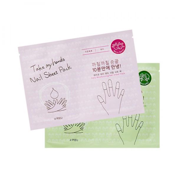 маска для ногтей парафиновая apieu take my hand nail sheet packTake My Hand Nail Sheet Pack. Маска для ногтей парафиновая<br><br>В упаковке 2 набора по 5 напалечников с разной шириной по размеру каждого пальца на руке, то есть от большого до маленького (для мизинца).<br><br>Внутри каждого напалечника питательная эссенция, обеспечивающей полноценный уход за поврежденными ногтями и кутикулой в домашних условиях, такие маски реанимирует ногти в достаточно сжатые сроки. Маска поддерживает гладкость и увлажнение ногтей и кожи вокруг, ухаживает за кутикулой и способствует заживлению мелких ран. Предотвращает ломкость ногтей и нормализуют процесс роста.<br><br>Варианты исполнения:<br><br><br>С экстрактом авокадо<br><br><br>Содержит масла авокадо, ши, арганы, макадамии и камелии, а также экстракты меда, манго, миндаля, кокоса, ягоды асаи, маточное молочко и гиалуроновую кислоту для дополнительного увлажнения.<br><br>За короткое время придаст вашим ногтям сияющий и ухоженный вид.<br><br><br>С ягодным комплексом<br><br><br>Содержит ягодный комплекс, водный настой лаванды, козеин, соевый белок и т.д.<br><br>Ягодный комплекс способствует увлажнению кожи, кутикулы и ногтевой пластинки.<br><br>Применение: На чистые сухие пальцы нужно надеть масочки, предварительно отделив их друг от друга, и оставить на 20-30 минут. Остатки эссенции вмассируйте в ногтевую пластину и кожу около ногтя.<br><br>Объем: 2 мл х 2 шт<br>