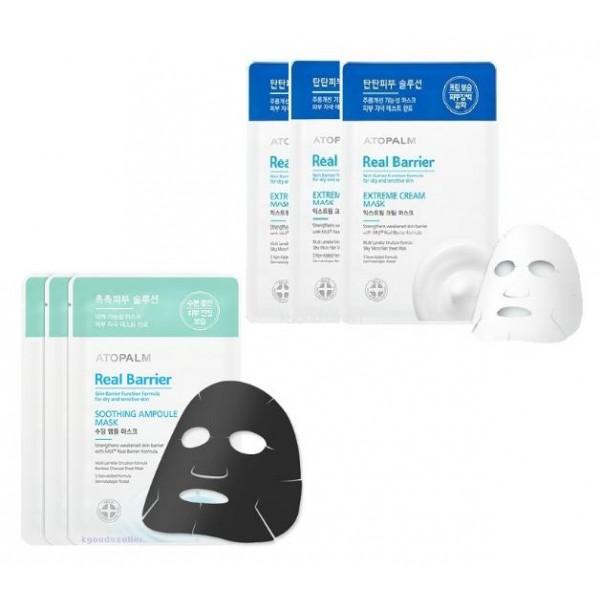 маска тканевая для лицаMask Real Barrier. Маска тканевая для лица<br><br>Главным действующим компонентом является&amp;nbsp;многослойная эмульсия, которая воспроизводит слоистую структуру кожи. Благодаря структурному и химическому сходству с межклеточными липидами многослойная эмульсия легко встраивается в нарушенные слои естественных липидов кожи и восстанавливает их нормальное строение изнутри. Поэтому средства серии Real Barrier эффективно повышают барьерную (защитную) функцию кожи.<br><br>Кроме того в продукции серии Real Barrier содержится&amp;nbsp;расширенный комплекс компонентов: пантенол - увлажняет кожу, повышает ее гладкость и эластичность; мадекассосид - оказывает регенерирующее и смягчающее воздействие, укрепляет стенки капилляров, аллантоин - обладает противомикробным и противовоспалительным действием; натуральный арома-комплекс.<br><br><br><br>Extreme Cream Mask Real Barrier. Маска с защитным кремом для лица<br><br><br>Маска изготовлена из тончайшего волокна и обильно пропитана кремом, содержащим пептиды и церамиды. Она идеально повторяет контуры лица и способствует бережному уходу за чувствительной кожей, восстанавливая защитную функцию кожи, увлажняя и повышая ее эластичность.<br><br><br>Soothing Ampoule Mask Real Barrier. Успокаивающая ампульная маска для лица<br><br><br>Маска салфетка пропитана эссенцией в ампульной концентрации. Эссенция содержит древесный уголь, который эффективно абсорбирует загрязнения, смягчает и успокаивает чувствительную кожу. Маска обеспечивает длительное увлажнение, создавая защитный барьер, препятствующий потере влаги.<br><br>Способ применения:<br><br><br>На очищенную кожу лица наложите маску-салфетку, обеспечивая плотное прилегание к коже лица.<br><br>Снимите маску через 10-20 минут.<br><br>Распределите оставшуюся эссенцию массирующими движениями до полного впитывания. Не требует смывания.<br><br><br>Объем: 28 мл<br>