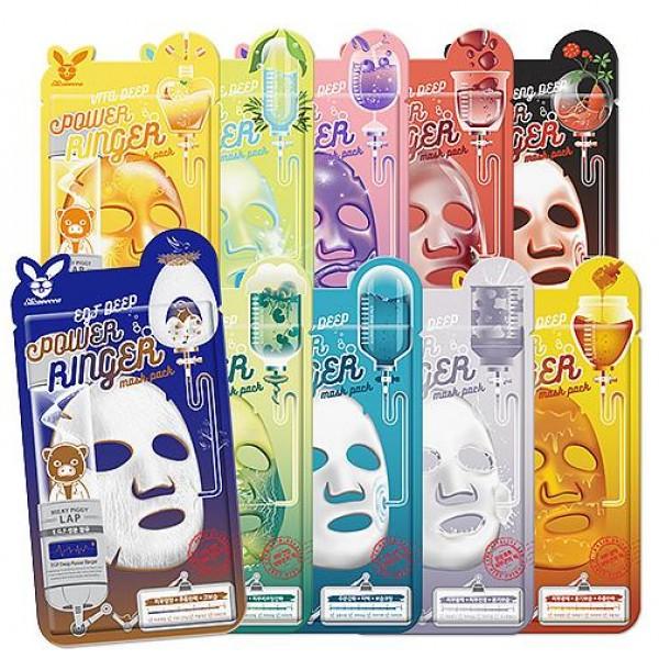 маска для лица тканевая elizavecca deep power ring mask packDeep Power Ring Mask Pack.&amp;nbsp;Маска для лица тканевая<br><br>Серия тканевых масок это эффективный уход за вашей кожей, каждая маска пропитана концентрированной эссенцией направленной на активное воздействие и решение определенной проблемы.<br><br>EGF&amp;nbsp;(Epidermal Growth Factor – эпидермальный фактор роста) – маска для регенерации и продления молодости кожи. Оказывает выраженный лифтинг эффект, увлажняет и сохраняет оптимальный гидробаланс. Эпидермальный Фактор Роста (EGF) – относится к группе факторов роста (цитокины) и является полипептидом. Он состоит из 53 аминокислот, относится к наиболее стабильным из всех изученных белков. Присутствует в клетках всех тканей организма, регулирует рост клеток.<br><br>Milk (Молочная) – увлажняет и тонизирует, в состав так же входит гиалуроновая кислота и цветочные экстракты, маска наполняет кожу энергией, возвращает упругость. Молоко в составе маски, дарит коже мягкость, делает ее ровной и гладкой. С первым применение молочной маски запускается процесс обновления клеток эпидермиса, лицо становится свежим и обретает здоровый цвет.<br><br>Vita (Витаминная) – в основе маски эссенция пропитанная фруктовыми и ягодными экстрактами такими как персик, гранат, клубника, томат. Маска насыщает кожу витаминами, улучшает тон кожи, делает его ярким и свежим. В составе так же Витамин Е – отвечающий за питание и укрепление стенок сосудов, предотвращает развитие купероза, оказывает питательную функцию.<br><br>Centella (Центелла Азиатская) - средство оказывает мощное антиоксидантное, тонизирующее и восстанавливающее действие. Центелла богата высоким содержанием кофеина и витаминов В, Е, К, которые ускоряют клеточный метаболизм, снабжают клетки влагой и питательными веществами, заметно улучшая состояние кожи. Маска предупреждает преждевременное старение, активизирует синтез коллагена, заживляет воспаления, уменьшает раздражения, делает кожу упругой и подтянутой.<br><br>Aqua (У
