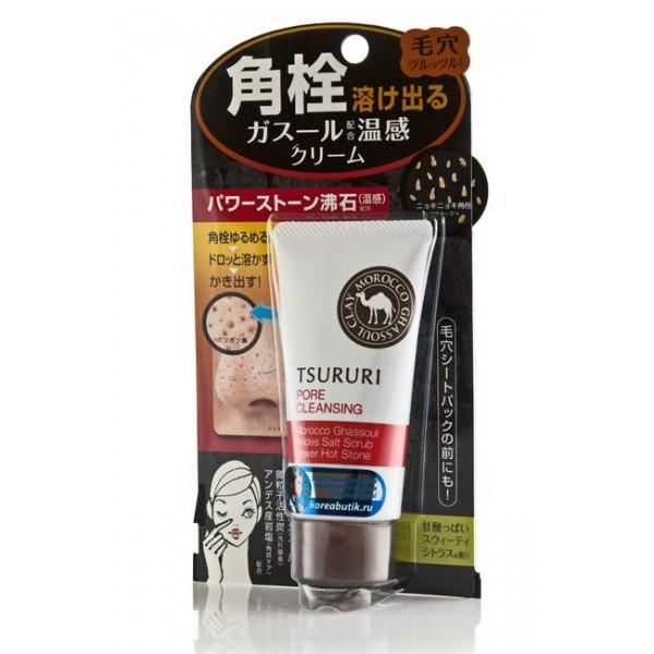 очищающий поры крем (с термоэффектом) bcl tsururi pore cleansing creamTsururi Pore Cleansing Cream. Очищающий поры крем (с термоэффектом) растворяет сальные пробки и черные точки, делает кожу чистой и гладкой.<br><br>Механизм действия крема: цеолит, входящий в состав средства, оказывает тепловой эффект, способствует раскрытию пор, затем адсорбирующие компоненты (вулканическая глина и активированный уголь) проникают внутрь, впитывая в себя продукт выделения сальных желез, составляющий закупорку пор. Благодаря этому поры очищаются, затем после умывания стягиваются. Скраб из мелких частиц активированного угля и каменной соли отшелушивает ороговевшие участки кожи. Кожа становится свежей и шелковистой.<br><br>Активные компоненты:<br>Вулканическая глина Гассуль прекрасно очищает поры от загрязнений, обладает выраженным антисептическим и противовоспалительным действием, насыщает кожу микроэлементами.<br>Цеолит способствует раскрытию пор, захватывает продукт выделения сальных желез и прочно запирает их в своей структуре. В конце процедуры вы просто смываете водой цеолит, удерживающий в себе эти вещества.<br>Гиалуроновая кислота и экстракт грейпфрута увлажняют.<br>Экстракты гамамелиса и мяты стягивают поры.<br>Ментол придает ощущение свежести после удаления загрязнений.<br>Обладает сладким цитрусовым ароматом.<br><br>Способ применения: после удаления макияжа необходимо лицо вытереть насухо. Средство, предварительно не встряхивая, нанести непосредственно на кожу в тех местах, где чувствуется шероховатость, потемнения: крылья носа, подбородок, переносицу, лоб. В течение примерно 60 секунд выполнить круговые массирующие движения. Смыть теплой водой.<br>Не применяйте крем для кожи вокруг глаз. При попадании крема в глаза сразу же промойте их водой.<br><br>Меры предосторожности: не использовать при появлении покраснений, зуда, раздражения кожи. В случае возникновения аллергических реакций, прекратите использование средства и проконсультируйтесь с дерматологом. Храните вдали от пр