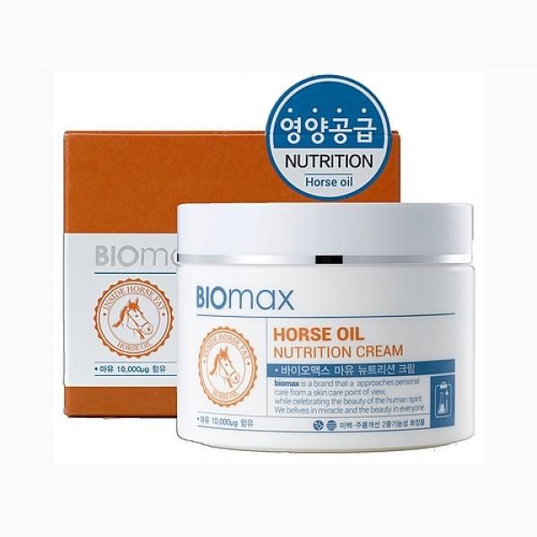 питательный крем с лошадиным маслом biomax horse oil nutrition creamHorse Oil Nutrition Cream. Питательный крем с лошадиным маслом<br><br>Лошадиное масло по своему составу схоже с человеческой подкожно-жировой клетчаткой и содержит большое количество жирных кислот: альфа-липоевая, линолевая, арахидоновая. Лошадиное масло обладает противовоспалительным и иммуномодулирующим действием, а также восстанавливает барьерную функцию кожи.<br><br>&amp;nbsp;<br><br>Крем интенсивно питает, регулирует водно-жировой баланс &amp;nbsp;и борется с первыми признаками старения. Входящие в состав крема компоненты &amp;nbsp;бережно ухаживают за кожей лица:<br><br><br>Аргановое масло - питает.<br><br>Гиалуроновая кислота – способствует длительному увлажнению.<br><br>Ниацинамид – повышает тонус кожи и выравнивает тон лица.<br><br>Аденозин – борется с первыми признаками возрастных изменений кожи.<br><br><br>&amp;nbsp;<br><br>Крем обладает легкой консистенцией и быстро впитывается. Не оставляет жирного блеска и липкости<br><br>Крем подойдет для очень сухой и сухой кожи лица<br><br>&amp;nbsp;<br><br>Применение: Используйте утром и вечером в качестве завершающего этапа ухода за кожей. Нанесите необходимое количество и распределите по коже лица массирующими движениями.<br><br>&amp;nbsp;<br><br>Меры предосторожности: Не используйте на поврежденной коже. &amp;nbsp;При появлении следующих симптомов прекратите использование: раздражение, сыпь, покраснение, зуд.<br><br>&amp;nbsp;<br><br>Состав: Water, Mineral Oil, Butylene Glycol, Polyglyceryl-3 Methylglucose Distearate, Glyceryl Stearate, Cetearyl Alcohol, Niacinamide, Palmitic Acid, Dimethicone, PEG-100 Stearate,Stearic Acid, Tocopheryl Acetate, Carbomer, Triethanolamine, Allantoin, Propylparaben, Adenosine, Disodium EDTA, Argania Spinosa Kernel Oil, Horse Fat, Alcohol, PEG-60 Hydrogenated Castor Oil, Sodium Hyaluronate, Ceramide 3, Ethylhexylglycerin, Methylparaben, Phenoxyethanol, Fragrance<br><br>&amp;nbsp;<br><br>Объем:100мл<br>
