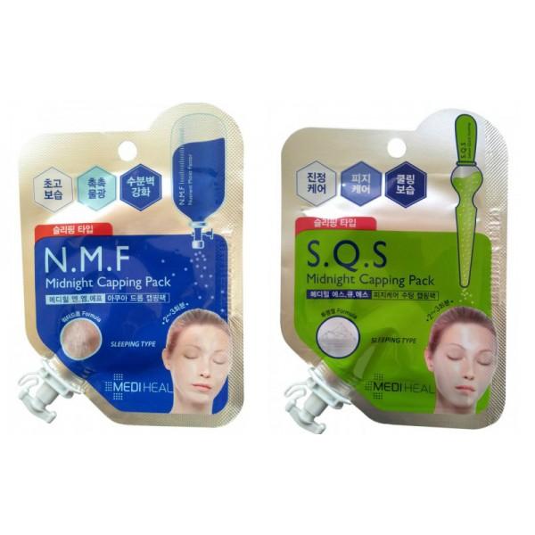 ночная маска для лица beauty clinic midnight capping packMidnight Capping Pack. Ночная маска для лица<br><br><br>N.M.F Midnight Capping Pack. Маска ночная для лица с N.M.F<br><br><br>Крем-маска содержит N.M.F., а также другие активные увлажняющие и подтягивающие компоненты, такие как экстракт семян баобаба, экстракт лаванды, экстракт икры, гиалуроновая кислота, интенсивно увлажняет, потягивает и питает кожу, придает ей свежесть. Способствует разглаживанию морщин.<br><br>Активные компоненты:<br><br><br>NMF (натуральный увлажняющий фактор) - это сложный комплекс молекул в роговом слое кожи, которые способны притягивать и удерживать влагу, обеспечивать упругость и прочность рогового слоя кожи. В состав NMF входят низкомолекулярные пептиды, карбамид, пирролидонкарбоновая кислота, аминокислоты и т. д. При недостаточности увлажняющего фактора происходит обезвоживание эпидермиса.<br><br>Комплекс растительных экстрактов (лаванды, розмарина, орегано, тимьяна, аскофиллума, семян баобаба, критмума морского, фенхеля, масло плодов бергамота) увлажняет и питает кожу, придает упругость и эластичность.<br><br>Экстракт аскофиллума (фукусовой водоросли) богат микро- и макроэлементами, питает и увлажняет кожу.<br><br>Экстракт критмума морского обладает антиоксидантным и солнцезащитным, укрепляющим и тонизирующим действием, стимулирует процессы регенерации.<br><br><br><br>S.Q.S Midnight Capping Pack. Маска ночная для проблемной кожи лица<br><br><br>Ночная гель-маска S.Q.S (Sebum Quick Soothing ) благодаря комплексу растительных экстрактов контролирует секрецию сальных желез, успокаивает проблемную кожу, сужает поры, устраняет покраснения, увлажняет и охлаждает.<br><br>Активные компоненты: <br><br><br>Экстракт критмума морского стимулирует выработку особых липидов, которые уплотняют структуру кожи и не позволяют ей терять воду. Стволовые клетки критмума интенсивно стимулируют синтез коллагена и эластина, ускоряют деление клеток в базальном слое эпидермиса, уплотняют кожу и разглаживают 