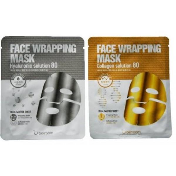 маска для лица berrisom face wrapping mask solution 80Face Wrapping Mask Solution 80. Маска для лица<br><br>Первый слой маски из нежнейшей биоцеллюлозы, второй слой – защитное покрытие.<br><br>Первый слой маски пропитан эссенцией с гиалуроновой кислотой, а второй слой способствует тому, что омолаживающая эссенция первого слоя не только не испаряется, но еще и проникает гораздо глубже. Еще одно уникальное свойство маски – количество эссенции. 30 мл омолаживающего средства, как в полноценном флакончике с сывороткой для ежедневного применения – а в маске все это количество на одно применение.<br><br><br>Face Wrapping Mask Hyaruronic Solution 80. Маска для лица с гиалуроновой кислотой<br><br><br>Гиалуроновая кислота в составе маски способствует длительному увлажнению кожи, так как создает на ее поверхности тончайшую незаметную пленку, которая активно всасывает влагу из воздуха, благодаря чему увеличивается содержание влаги в роговом слое и снижается испарение воды с поверхности кожи. При этом не забиваются поры и не нарушается газообмен.<br><br>Благодаря высокому содержанию эссенции и ее высокой концентрации маска повышает тонус и упругость, разглаживает сухие заломы и выравнивает тон кожи. Лицо становится более свежим и сияющим, ухоженным и молодым. Также маска оказывает успокаивающее, регенерирующее и противовоспалительное действие.<br><br>Экстракты центеллы азиатской, гинкго билоба и другие натуральные компоненты усиливают увлажняющее и оздоравливающее действие маски.<br><br><br>Face Wrapping Mask Collagen Solution 80. Маска для лица с коллагеном<br><br><br>Морской коллаген в составе маски восполняет дефицит собственного коллагена, благодаря чему предупреждает деформацию кожных покровов, и при регулярном применении маски кожа вновь становится более гладкой, упругой и эластичной, неглубокие морщины разглаживаются, а глубокие становятся менее выраженными. Также коллаген способствует удержанию влаги в коже, что также приводит к ее разглаживанию и предупреждает образован