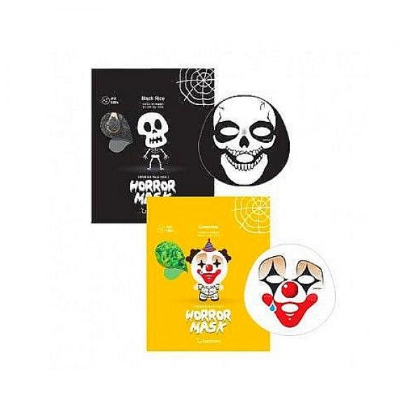 монстро-маска тканеваяHorror Mask Series. Монстро-маска тканевая<br><br>Хотите пощекотать нервы своим близким? Хотите, чтобы уход за кожей был не только эффективным, но и необычным, запоминающимся? Используйте монстро-маски от BERRISOM.<br><br>&amp;nbsp;<br><br>Эпатажный дизайн с оригинальными принтами в виде клоуна и черепа добавит изюминку в повседневный уход за кожей.<br><br>&amp;nbsp;<br><br>Рисунок нанесен только на одну сторону маски, поэтому совершенно безопасен для кожи. Нежнейший органический хлопок, из которого сделана маска, подходит даже для самой чувствительной кожи. Мягкое и плотное прилегание обеспечивает глубокое проникновение в кожу активных компонентов маски.<br><br>&amp;nbsp;<br><br>В отличие от многих других масок, пропитанных 5-10 мл эссенции, Horror Mask Series пропитаны 25 мл слегка маслянистой, но приятной для кожи эссенцией.<br><br>&amp;nbsp;<br><br>В составе каждой маски керамиды, ледниковая вода и комплекс растительных экстрактов.<br><br>&amp;nbsp;<br><br>Керамиды – восстанавливают липидный барьер верхнего слоя эпидермиса сухой и огрубевшей кожи, обеспечивают интенсивное увлажнение. Благодаря керамидам в составе маски, кожа в короткие сроки после применения восстанавливается, уменьшаются признаки обезвоженности, разглаживаются морщинки. Керамиды снимают шелушения кожи, дарят ей гладкость и шелковистость.<br><br>&amp;nbsp;<br><br>Ледниковая вода – интенсивно увлажняет кожу, насыщает ее важнейшими микроэлементами, тонизирует и дарит невероятное ощущение свежести, нормализует и ускоряет процессы восстановления клеток.<br><br>&amp;nbsp;<br><br>Маска представлена 2 вариантами:<br><br>&amp;nbsp;<br><br>Berrisom Horror Mask Series Pierrot – маска-клоун для увлажнения кожи<br><br>Экстракт зеленого чая оказывает противовоспалительное действие, уничтожает микробы и бактерии на поверхности кожи, предотвращает их размножение и появление новых воспалений, очищает и сужает поры, снимает отечность тканей, улучшает снабжение клеток кислородом, увлажняет к