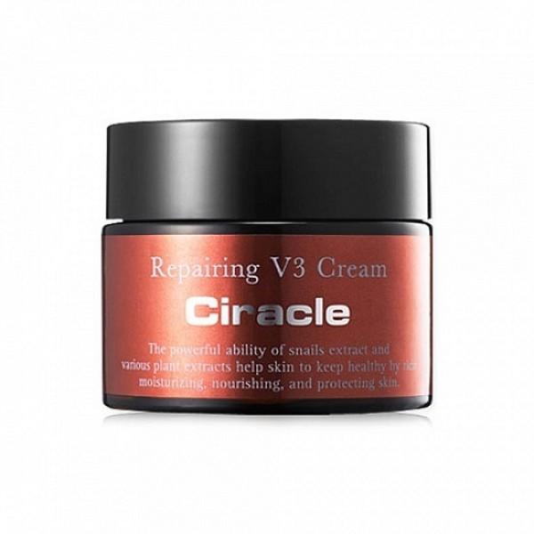 крем для лица восстанавливающий ciracle repairing v3 creamRepairing V3 Cream. Крем для лица восстанавливающий<br><br>Профессиональный крем для интенсивного восстановления кожи. Его мягкая тающая сливочная текстура обеспечивает глубокое питание, смягчает, увлажняет и успокаивает кожу, а также подтягивает овал лица.<br><br>&amp;nbsp;<br><br>Крем предназначен для любого типа кожи, но особенно рекомендуется для сухой и чувствительной, для тусклой и подверженной стрессам кожи.<br><br>&amp;nbsp;<br><br>Основной действующий компонент крема – муцин улитки, вещество, созданное природой, является уникальным комплексом полезных веществ (белки, полисахариды, минеральные соли, аллантоин, коллаген, эластин, витамины, гиалуроновая и гликолевая кислоты и др.).<br><br>&amp;nbsp;<br><br>Секрет, который улитка выделяет для лечения и регенерации своего тельца, уникальное средство и для регенерации кожи человека. Структура и составляющие улиточной слизи удивительно схожи с человеческой, поэтому слизь хорошо воспринимается нашей кожей и начинает свое воздействие на клеточном уровне: стимулирует активность фибробластов (клеток, отвечающих за формирование экстраклеточного мактрикса, коллагена и эластина), ускоряет синтез собственных коллагена, эластина и гиалуроновой кислоты, снижает активность свободных радикалов. За счет этих процессов происходит мощное клеточное обновление, замедляются процессы старения, кожа обретает гладкость и упругость, морщины разглаживаются, осветляется пигментация.<br><br>&amp;nbsp;<br><br>Улиточная слизь одновременно хорошо воздействует как на глубинные проблемы кожи, связанные с фотостарением и возрастными изменениями, так и на поверхностные проблемы, связанные с акне, бактериями, вирусами и другими агрессивными внешними факторами. Слизь улитки защищает кожу от повреждения ультрафиолетовым излучением, помогает избежать келоидных рубцов и шрамов при заживлении различных повреждений кожи, предупреждает появление постакне.<br><br>&amp;nbsp;<br><br>Также в составе 
