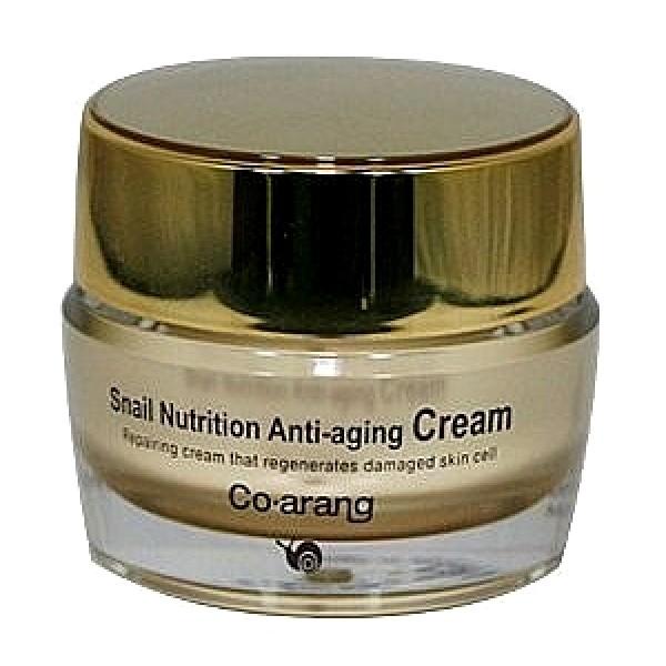 антивозрастной крем с экстрактом слизи улитки co arang snail nutrition anti-aging creamSnail Nutrition Anti-Aging Cream. Антивозрастной крем для лица с экстрактом слизи улитки препятствует старению кожи, интенсивно обновляет и восстанавливает клетки. Улучшает состояние кожи, смягчая и интенсивно увлажняя ее. Делает ее упругой и эластичной. Подтягивает, защищает кожу от агрессивного воздействия окружающей среды.<br><br>Активные компоненты:<br><br><br>Экстракт слизи улитки является кладовой природных компонентов, необходимых коже. Содержит аллантоин, коллаген, витамины А, С, Е, В6 и В12, микроэлементы (медь, цинк, железо и др. ), эластин, хитозан, фермент протеаза, гликолевую кислоту. Удерживает влагу в коже и придает ей упругость.<br><br>Экстракт корня аморфофаллус коньяк (конняку) интенсивно увлажняет, тонизирует и смягчает кожу. Конняку способствует ускоренной регенерации клеток кожи, а также стимулирует естественную выработку коллагена, тем самым повышая эластичность кожи.<br><br>Экстракт портулака огородного препятствует появлению морщин, запускает процессы омоложения клеток.<br><br>Экстракт корня алтея оказывает регенерирующее и увлажняющее действие на кожу.<br><br>Экстракт жимолости смягчает кожу, придает ей эластичность, оказывает антибактериальное действие.<br><br>Комплекс натуральных масел (Ши, семян пенника лугового, шиповника, оливы, жожоба) интенсивно увлажняет, питает и восстанавливает потерявшую упругость кожу с явными признаками старения.<br><br><br><br>Способ применения: после очищения кожи нанести похлопывающими движениями на кожу лица и шеи. Рекомендуется применять утром и вечером.<br><br>Меры предосторожности: при покраснении, зуде, раздражении после применения прекратите использование средства и проконсультируйтесь с врачом-дерматологом. Избегайте попадания в глаза, при попадании сразу же промойте глаза водой. Храните в недоступных для детей местах. Не храните в местах повышенных/пониженных температур, избегайте попадания прямых солнечных лучей.<b