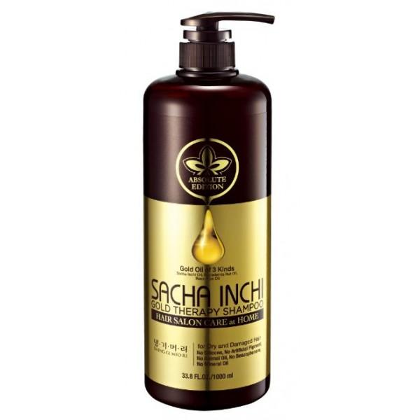 восстанавливающий шампунь золотая терапия  daeng gi meo ri sacha inchi gold therapy shampooSacha Inchi Gold Therapy Shampoo. Восстанавливающий шампунь золотая терапия&amp;nbsp;<br><br>Этот шампунь уникален тем, что содержит три вида самых популярных и полезных масел для волос.<br><br>Масло Sacha Inchi (Масло Инка Инчи) добывается из семян перуанского растения Сача Инчи. Его уникальные свойства являются результатом высокого содержания (83%) незаменимых жирных кислот, как Омега-3 (48%), Альфа-линоленовая кислота, Омега-6 (35%), Омега-9 (9%),также содержит витамины А, Е, белки, микро и макроэлементы.<br><br>Омега-3, 6, 9 особенно необходимы для улучшения состояния волос. Они устраняют сухость и повышают эластичность волос, оказывают антиоксидантное действие.<br><br>Масло обладает питательными, защитными, увлажняющими, смягчающими свойствами, а так же высокой способностью регенерации волос. Защищает от воздействий окружающей среды, улучшает структуру и внешний вид волос.<br><br>Масло макадамии прекрасно распределяется на поверхности волосяного покрова головы, питая его по всей длине, и оказывает очень мощное лечебное и восстанавливающее действие на структуру волос. В первую очередь его рекомендуют для ухода и оживления сухих, обезвоженных и поврежденных волос в результате неоднократного окрашивания или различных химических процедур. Масло ореха макадамии хорошо способствует выздоровлению и укреплению тусклых и ослабленных волос, придает им природный блеск, силу, красивый, сверкающий и энергичный вид.<br><br>Масло имеет относительно легкую структуру, за счет чего его еще любят называть «быстроисчезающим маслом». Это связанно с тем, что оно быстро впитывается, благодаря чему удобство при его использовании значительно повышается. Масло макадамии не оставляет жирного блеска на волосах или сальной пленки на коже головы.<br><br>Масло шиповника является важнейших для ухода за волосами. Он содержит жирные кислоты, которые отвечают за здоровое питание клеток кожи головы и также 