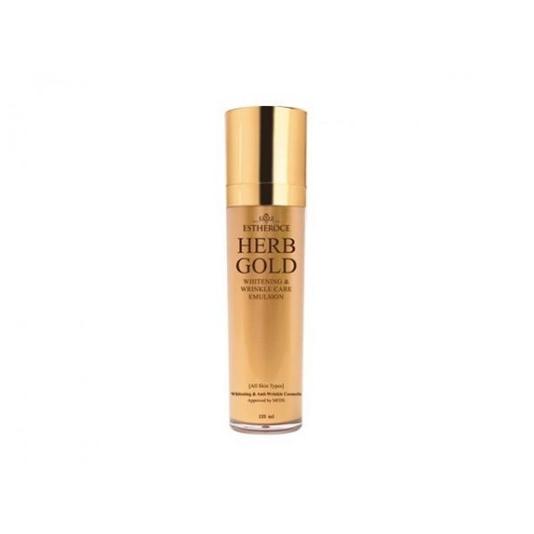 эмульсия для лица омолаживающая deoproce estheroce herb gold whitening &amp; wrinkle care emulsionEstheroce Herb Gold Whitening &amp;amp; Wrinkle Care Emulsion. Эмульсия для лица омолаживающая<br><br>Легкое и приятное для кожи средство, хорошо распределяется, быстро впитывается, увлажняет и освежает кожу, разглаживает ее, делает мягкой и шелковистой. Хорошо работает и на поверхности кожи, и в ее глубоких слоях, запуская процессы омоложения на клеточном уровне, стирая с лица следы усталости и возрастные изменения.<br><br>Эмульсия из серии средств премиум-линии, которая предназначена для омоложения кожи и помогает справиться с возрастными изменениями, оказывает целенаправленное воздействие на осветление пигментации и разглаживание морщин. Средства улучшают внешнее состояние кожи, воздействуя на процессы омоложения на клеточном уровне, стирая с лица следы усталости и возрастные изменения.<br><br>Основные компоненты серии 99,9% чистое золото, гидролат розы (розовая вода), ниацинамид, аденозин и растительный комплекс.<br><br>Золото усиливает циркуляцию крови, благодаря чему выводятся шлаки и токсины, обеспечивает длительное, глубокое увлажнение и питание кожи, способствует регенерации клеток, повышает эластичность и упругость кожи, предохраняет кожный покров от нежелательных возрастных изменений. Кроме того, способствует проникновению активных компонентов средства в глубокие слои кожи.<br><br>Розовая вода обеспечивает великолепный уход за сухой и зрелой кожей, благодаря чему она становится увлажненной, более упругой и эластичной, выравнивается цвет лица, а также становятся менее выраженными морщины. Незаменима розовая вода и для гиперчувствительной, истонченной, а также подверженной различным аллергическим реакциям кожи. Она успокаивает кожу, ускоряет процессы регенерации и заживление воспалений, помогает уменьшать гиперемию и купероз, тонизирует и освежает кожу.<br><br>Комплекс растительных экстрактов оказывает противовоспалительное действие, успокаивает чувствительную,