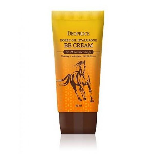 крем бб с гиалуроновой кислотой и лошадиным жиром deoproce horse oil hyalurone bb creamHorse Oil Hyalurone Bb Cream. Крем ББ с гиалуроновой кислотой и лошадиным жиром<br><br>ББ-крем с ультралегкой текстурой хорошо распределяется по коже и создает естественное покрытие, маскирующее кожные несовершенства и выравнивающее тон кожи. Помимо прекрасных тональных свойств крем обладает уходовым и солнцезащитным действием.<br><br>Солнцезащитный фильтр SPF50+ PA+++ надежно защищает кожу от уф-лучей A и B типа, нейтрализуя их и предупреждая разрушение клеток и фотостарение, оберегает от появления пигментации.<br><br>Уходовое действие крема выражается в интенсивном питании и увлажнении кожи, которые дарят ей лошадиный жир и гиалуроновая кислота, идеально дополняющие друг друга. ББ-крем станет настоящим спасением для сухой, очень сухой, вялой, утратившей эластичность и упругость кожи, а также для кожи с шелушениями.<br><br>Лошадиный жир идеально воспринимается кожей человека, так как похож с ней по своему структурному составу. Лошадиный жиром великолепно питает кожу, смягчает ее и защищает от обезвоживания, восстанавливает поврежденные участки и устраняет шелушения. Также он усиливает защитные функции кожи и ее способность противостоять агрессивному воздействию свободных радикалов, неблагоприятных факторов внешней среды, препятствует обветриванию и обморожению.<br><br>Гиалуроновая кислота мгновенно увлажняет кожу на поверхности и интенсивно насыщает влагой во всех слоях, на поверхности кожи создает невидимую защитную пленку, которая способствует удержанию влаги внутри, а также притягивает влагу из воздуха, благодаря чему кожа увлажнена в течение долгого времени. Также гиалуроновая кислота повышает тонус и упругость кожи, способствует разглаживанию морщин и кожных заломов, вызванных обезвоживанием, ускоряет заживление различных кожных повреждений, в том числе воспалений после длительного пребывания на открытом солнце.<br><br>Крем представлен 2 оттенками:<br><br><br>21 Natural Beig