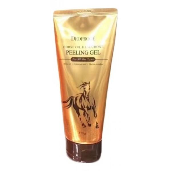 пилинг-гель с гиалуроновой кислотой и лошадиным жиром deoproce horse oil hyalurone peeling gelHorse Oil Hyalurone Peeling Gel. Пилинг-гель с гиалуроновой кислотой и лошадиным жиром<br><br>Пилинг на основе Лошадиного жира - нежное и глубокое очищение кожи, обладает мощным антиоксидантным действием, увлажняет, улучшает тонус кожи и уменьшает отечность, оказывает питательное, успокаивающее, антибактериальное действие.<br><br>Лошадиный жир является эффективным восстанавливающим средством для увядающей и поврежденной кожи, улучшает тургор и подтянутость, придает яркий свежий вид и обеспечивает глубокое питание.<br><br>Так же в состав пилинга входит гиалуроновая кислота, которая нормализует водный баланс кожи, защищает от окружающих воздействий .<br><br>Преимущество пилинга в том, что он абсолютно не травмирует кожу, кроме того, что пилинг эффективно очищает кожу, оказывает массажное действие, благодаря которому улучшается кровообращение, стимулируется регенерация клеток кожи.<br><br>Пилинг подходит для всех типов кожи – как для сухой, проблемной и чувствительной. При жирной коже рекомендуется использовать пилинг 1- 2 раза в неделю, (при сухой и чувствительной кожи – 1 раз в неделю)<br><br>Способ применения: небольшое количество средства нанести на кожу лица, очистить кожу круговысм движениями.<br><br>Вес: 170 г<br><br>Вес г: 170.00000000