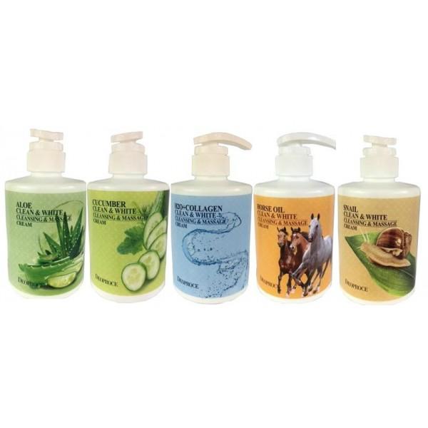 крем для тела массажный очищающий deoproce white cleansing &amp; massage creamWhite Cleansing &amp;amp; Massage Cream. Крем для тела массажный очищающий<br><br><br>Aloe Clean &amp;amp; White Cleansing &amp;amp; Massage Cream - Крем для тела массажный очищающий с экстрактом алое<br><br><br>Очищающий массажный крем для лица с экстрактом алое предназначен для двойного ухода за вашей кожей. Крем прекрасно очищает поры, устраняя все виды загрязнений, обладает антибактериальным эффектом. Крем содержит минеральные масла, которые увлажняют и питают кожу, подтягивают ее, возвращают молодость и здоровье.<br><br><br>Cucumber Clean &amp;amp; White Cleansing &amp;amp; Massage Cream - Крем для тела массажный очищающий с экстрактом огурца<br><br><br>Экстракт огурца оказывает освежающее и тонизирующее действие, снимает отечность кожи. Улучшает регенерацию, ускоряет заживание царапин, регулирует работу сальных желез. Также экстракт огурца блокирует синтез меланина, благодаря чему осветляются веснушки и пигментные пятна, уменьшается проявления купероза.<br><br><br>H2O+Collagen Clean &amp;amp; White Cleansing &amp;amp; Massage Cream - Крем для тела массажный очищающий с коллагеном<br><br><br>Очищающий массажный крем с коллагеном мягко очищает кожу от повседневных загрязнений, улучшает цвет кожу и осветляет. Коллаген является основным компонентом матрикса соединительных тканей, и с возрастом его количество в коже падает. Наиболее хорошо кожей усваивается гидролизованный морской коллаген. Он способствует восстановлению упругости и эластичности, увлажняет и улучшает влагоудерживающие свойства кожи, разглаживает мимические морщины и подтягивает кожу.<br><br><br>Horse Oil Clean &amp;amp; White Cleansing &amp;amp; Massage Cream - Крем для тела массажный очищающий с лошадиным жиром <br><br><br>Очищающий массажный крем с экстрактом лошадиного жира мягко очищает кожу от повседневных загрязнений, улучшает цвет кожу и осветляет. Лошадиный жир - натуральный лечебный продукт, восстанавливает клетк