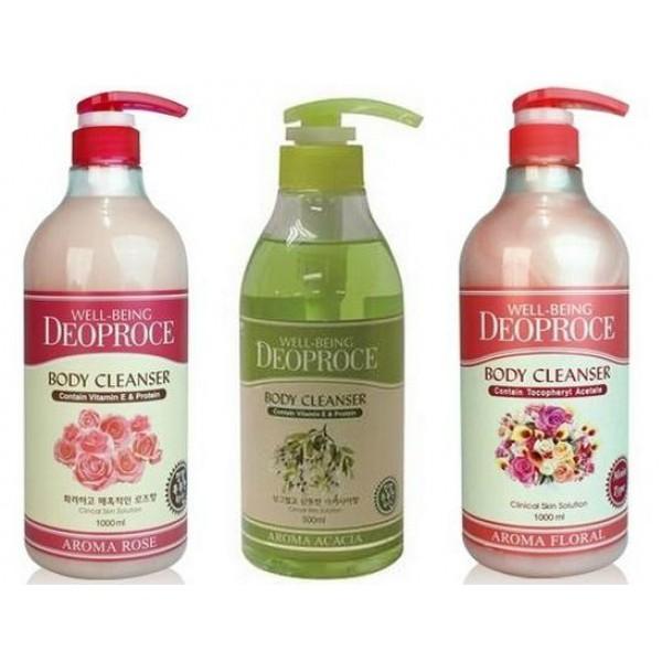 гель для душа deoproce well-being aroma body cleanserWell-Being Deoproce Aroma Body Cleanser.&amp;nbsp;Гель для душа<br><br><br>Well-Being Deoproce Aroma Body Cleanser - Гель для душа Акация<br><br><br>Гель для душа с экстрактом акации хорошо очищает кожу, оказывает благоприятное влияние на ее состояние, делает кожу мягкой на ощупь, гладкой и чистой.<br>кожу, оказывают благоприятное влияние на ее состояние.<br>Благодаря тщательно продуманной формуле, гель не пересушивает кожу, а наоборот - питает и увлажняет ее. Гель для душа оставляет после себя едва уловимую, но очень приятную ароматную дымку, которая обволакивает тело и обеспечивает чувство комфорта и уюта.<br><br><br>Well-Being Deoproce Aroma Body Cleanser - Гель для душа Роза<br><br><br>Гель для душа нежно очищает, повышает защитные факторы кожи и стимулирует ее регенерацию. Придает коже тонкий аромат лепестков роз. Розовый аромат не просто приятен – он оказывает сильное влияние и на психику, и на организм в целом. Аромат розы может снять депрессию, улучшить настроение.<br><br><br>Well-Being Deoproce Aroma Body Cleanser - Гель для душа Цветочный<br><br><br>Гель для душа нежно очищает, повышает защитные факторы кожи и стимулирует ее регенерацию. Придает коже тонкий цветочный аромат.<br><br>Способ применения: Вспенить гель на губке и лёгкими движениями нанести на кожу. После чего тщательно смыть под струей теплой воды.<br><br>Объем: 1000 мл<br>