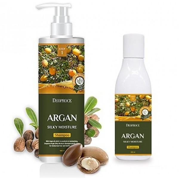 шампунь для волос с аргановым масломArgan Silky Moisture Shampoo. Шампунь для волос с аргановым маслом<br><br>Восстанавливает, оздоравливает, разглаживает, смягчает и увлажняет волосы шампунь, в составе которого натуральное аргановое масло, очень ценное и очень полезное.<br><br>&amp;nbsp;<br><br>Шампунь с аргановым маслом подходит для любого типа волос, но особенно рекомендуется для сухих, ломких, тусклых и безжизненных. Хорошо очищает кожу головы и волосы от загрязнений, а также оказывает ухаживающее действие.<br><br>&amp;nbsp;<br><br>Аргановое масло волшебным образом улучшает состояние и внешний вид волос. Оказывает интенсивное питательное и увлажняющее действие, увлажняет кожу головы, способствует ее регенерации и устраняет перхоть, восстанавливает структуру волос, стимулирует их рост и предупреждает выпадение, устраняет секущиеся кончики, защищает от пагубных ультрафиолетовых лучей.<br><br>&amp;nbsp;<br><br>При регулярном применении шампуня с маслом арганы можно забыть о перхоти и выпадении волос, об их сухости и ломкости. Волосы становятся сильными и упругими, гладкими, блестящими и шелковистыми, лучше держат прическу при высокой влажности воздуха.<br><br>&amp;nbsp;<br><br>Выпускается в 2-х вариантах:<br><br>- 200 мл<br><br>- 1000 мл<br><br>&amp;nbsp;<br><br>Способ применения: Нанести шампунь на влажные волосы и кожу головы, помассировать, затем смыть теплой водой.<br><br>&amp;nbsp;<br><br>&amp;nbsp;<br>