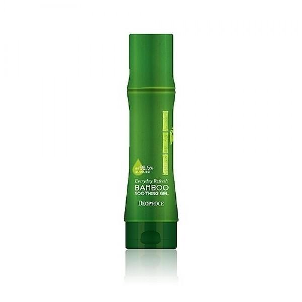 гель для тела бамбукEveryday Refresh Bamboo Soothing Gel. Гель для тела бамбук<br><br>Универсальный успокаивающий гель, в составе которого 99,5% экстракта свежесобранного бамбука.<br><br>&amp;nbsp;<br><br>Гель обеспечивает мгновенное насыщение клеток кожи живительной влагой, успокаивает и одновременно освежает кожу, разглаживает мелкие морщинки, защищает эластин кожи от разрушения, укрепляет иммунную способность к агрессивным факторам окружающей среды.<br><br>&amp;nbsp;<br><br>Экстракт бамбука – источник природного кремния, помогает бороться с такими признаками увядания кожи, как потеря упругости и эластичности. Благодаря кремнию, бамбук восстанавливает эластичность и упругость эластановых и коллагеновых волокон, структуру соединительной ткани. Такое воздействие приводит к тому, что кожа разглаживается, становится более подтянутой.<br><br>&amp;nbsp;<br><br>Гель с бамбуком одновременно и успокаивает кожу, и освежает ее, регулирует работу сальных желез, способствует выравниванию тона кожи и матирует, устраняет покраснения.<br><br>&amp;nbsp;<br><br>Кроме того, гель с бамбуком усиливает защитные функции кожи, помогая ей справляться с агрессивным воздействием окружающей среды, минимизирует влияние ультрафиолета.<br><br>&amp;nbsp;<br><br>Подходит для еждневного применения.<br><br>&amp;nbsp;<br><br>Способ применения: Нанести на кожу лица или тела легкими массирующими движениями.&amp;nbsp;Массажными движеними распределить по коже и дать впитаться.<br><br>&amp;nbsp;<br><br>Объем: 230 мл<br>