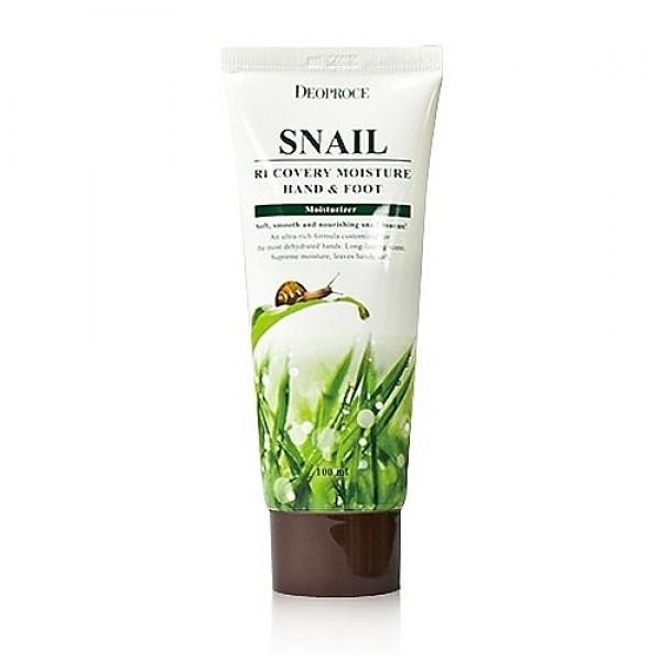крем для ног и рук с муцином улитки deoproce hand &amp; foot snail recoveryHand &amp;amp; Foot Snail Recovery. Крем для ног и рук с муцином улитки<br><br>Улиточный восстанавливающий крем для рук и ног активно увлажняет и смягчает сухую кожу рук и тела, заживляет мелкие повреждения, трещинки, придает коже мягкость и гладкость. <br><br>&amp;nbsp;<br><br>Крем основан на фильтрате улиточной слизи, который ускоряет регенерацию поврежденных клеток кожи, усиливает производство коллагена и эластина в коже, повышает эластичность, предотвращает сухость и шелушение. <br><br>&amp;nbsp;<br><br>В состав крема входят растительные экстракты центеллы азиатской, листьев алоэ вера, портулака.<br><br>&amp;nbsp;<br><br>Применение: нанести крем на кожу, растереть массажными движениями до полного впитывания.<br><br>&amp;nbsp;<br><br>Объем: 100мл<br>