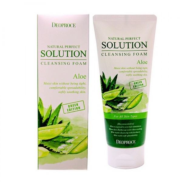 пенка для умывания алое deoproce natural solution cleansing foam green aloeNatural Perfect Solution Cleansing Foam Green Edition Aloe. Пенка для умывания алое<br><br>Экстракт алое нежно увлажняет, предотвращает появление прыщей, удерживает влагу в коже, не оставляет сухость и стягивание после умывания.<br><br>&amp;nbsp;<br><br>Придает коже ощущение легкости и расслабления. Подходит для любого типа кожи.<br><br>&amp;nbsp;<br><br>Применение: Выдавить необходимое количество, вспенить с теплой водой, вымыть лицо массирующими движениями и смыть теплой водой.<br><br>&amp;nbsp;<br><br>Объем: 170гр<br><br>Вес г: 170.00000000