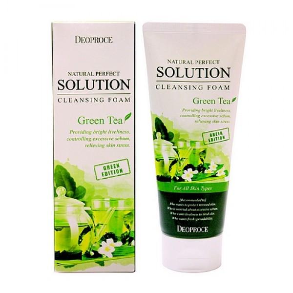 пенка для умывания зеленый чай deoproce natural solution cleansing foam greenteaNatural Perfect Solution Cleansing Foam Greentea. Пенка для умывания Зеленый чай<br><br>Смягчающая пенка на экстракте зеленого чая, нежно очищает кожу, оказывает антиоксидантное действие, снабжает клетки кислородом, уменьшает отечность, оказывает противовоспалительное и антибактериальное действие, защищает от УФ лучей, замедляет процесс старения. <br><br>&amp;nbsp;<br><br>Придает коже ощущение легкости и расслабления. <br><br>&amp;nbsp;<br><br>Подходит для любого типа кожи.<br><br>&amp;nbsp;<br><br>Применение: Выдавить необходимое количество, вспенить с теплой водой, вымыть лицо массирующими движениями и смыть теплой водой.<br><br>&amp;nbsp;<br><br>Объем: 170гр<br><br>Вес г: 170.00000000