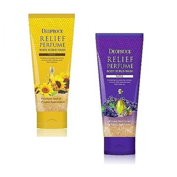 скраб для телаRelief Perfume Body Scrubwash. Скраб для тела<br><br>Скраб - это процедура очищения кожи, позволяющая не только очистить кожу, но и удалить ороговевшие клетки, которые препятствуют росту новых здоровых клеток.<br><br>Выпускается в 2-х вариантах:<br><br>1. YELLOW - Скраб для тела на основе подсолнечного масла мягко очищает и отшелушивает ороговевшие клетки эпидемиса. Увлажняет, смягает и способствует клеточному обновлению. Содержит масло семян подсолнуха и порошок скорлупы грецкого ореха.&amp;nbsp;<br><br>&amp;nbsp;<br><br>2. PURPLE - Скраб для тела на виноградных косточках не только очищает кожу, но и удаляет ороговевшие клетки, которые препятствуют росту новых здоровых клеток. Содержит измельченные виноградные косточки, виноградное масло, грецкий орех. Способствует нормализации влажности, липидного обмена, а также регенерации клеток, обладает антиоксидантным эффектом и защищает клетки кожи от преждевременного старения.<br><br>&amp;nbsp;<br><br>Скрабы подходят для всех типов кожи.<br><br>&amp;nbsp;<br><br>Проводить пилинг необходимо не чаще 2-х раз в неделю лучше после сауны или горячего душа.&amp;nbsp;<br><br>&amp;nbsp;<br><br>Применение: Необходимое количество скраба нанести на тело. Распределить легкими массажными движениями. Смыть водой.<br><br>&amp;nbsp;<br><br>Объем: 200 гр<br><br>Вес г: 200.00000000