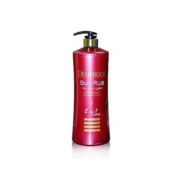 шампунь-бальзам 2 в 1 для окрашенных волосSilky Plus Hair Clinic System 2 In 1 Shampoo &amp;amp; Rinse. Шампунь-бальзам 2 в 1 для окрашенных волос<br><br>Окрашенные волосы более ранимые и чувствительны к различным физическим воздействиям, а также влиянию внешней среды, поэтому им нужна особенная забота.<br><br>&amp;nbsp;<br><br>Шампунь от DEOPROCE бережно очищает кожу головы и волосы от загрязнений, а бальзам оказывает уходовое действие.<br><br>&amp;nbsp;<br><br>Специальная формула для усиления яркости цвета окрашенных волос обеспечивает стойкость и глубину оттенков даже при частом мытье. В составе средства комплекс натуральных компонентов, которые заботливо защищают волосы от пагубного воздействия свободных радикалов и вредных воздействий окружающей среды (УФ лучей, ветра, мороза).<br><br>&amp;nbsp;<br><br>Шампунь-бальзам подарит блеск и жизненную силу даже тонким волосам, сделает их пышными, гладкими и мягкими на ощупь.&amp;nbsp;Укрепляет волос после окрашивания, сохраняет яркость и стойкость цвета, закрепляя краситель в волосах, а так же защищает волосы от вредных воздействий окружающей среды (УФ лучей, ветра, мороза).<br><br>&amp;nbsp;<br><br>Подходит для всех типов волос.<br><br>&amp;nbsp;<br><br>Способ применения: На влажные волосы нанести небольшое количество шампуня, равномерно распределить по всей длине волос, помассировать 2-3 минуты, смыть теплой водой.<br><br>&amp;nbsp;<br><br>Объём: 1500 мл<br>