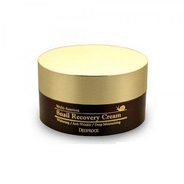 крем восстанавливающий с муцином улитки deoproce snail recovery creamSnail Recovery Cream. Крем восстанавливающий с муцином улитки<br><br>Крем способствует разглаживанию морщин, защищает кожу от обезвоживания, быстро впитывается и обладает отбеливающим эффектом. <br><br>&amp;nbsp;<br><br>Регулярное использование крема подарит коже молодость, эластичность, красивый и здоровый цвет лица.&amp;nbsp;<br><br>&amp;nbsp;<br><br>Подходит для любого типа кожи, не вызывает аллергии и раздражения.<br><br>&amp;nbsp;<br><br>Состав: Экстракт секреции улитки (200 мг), аденозин, экстракт японской айвы, экстракт листьев камелии китайской, масло дерева Ши.&amp;nbsp;<br><br>&amp;nbsp;<br><br>Применение: Равномерно нанесите крем на кожу лица и шеи мягкими массажными движениями, затем приступайте к нанесению макияжа.<br><br>&amp;nbsp;<br><br>Объем: 100гр<br><br>Вес г: 100.00000000
