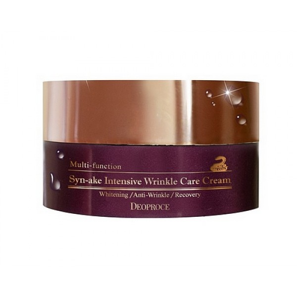 крем для лица со змеиным ядом deoproce synake intensive wrinkle care creamSynake Intensive Wrinkle Care Cream. Крем для лица со змеиным ядом<br><br>Интенсивный крем со змеиным ядом увлажняет кожу, разглаживает морщины, устраняет тусклый цвет лица, убирает возрастную пигментацию, восстанавливает эластичность и гладкость кожи.<br><br>&amp;nbsp;<br><br>Состав: пептид змеи, растительные экстракты листьев оливы, листьев гингко билоба, цветов лотоса, листьев зеленого чая и алоэ, гиалуроновая кислота, масло ши и масло семян жожоба. Подходит для любого типа кожи.<br><br>&amp;nbsp;<br><br>Применение: нанести крем на сухую очищенную кожу, втереть массирующими движениями кончиков пальцев. Крем можно использовать как дневной уход, так ночной.<br><br>&amp;nbsp;<br><br>Объем: 100гр<br><br>Вес г: 100.00000000