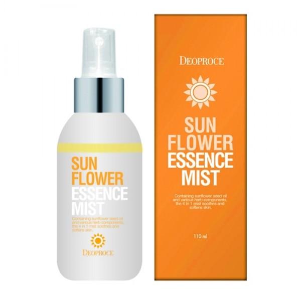 мист для лица тонизирующий увлажняющий deoproce mist sun flower essenceMist Sun Flower Essence. Мист для лица тонизирующий увлажняющий<br><br>Мисты – удивительно полезные косметические средства, которые будут полезны и зимой, и летом. Мист спасет кожу лица от жары, увлажняя и освежая. Мист поможет коже быть свежей и напитанной влагой в душном, кондиционированном помещении. Средство подходит для любого типа кожи, но особенно рекомендуется для сухой, усталой и чувствительной кожи.<br><br>В составе миста&amp;nbsp;масло семян подсолнечника, которое обладает прекрасными увлажняющими, питательными и регенерирующими свойствами, ускоряет заживление различных раздражений, а также успокаивает кожу.<br><br>Также масло подсолнечника обладает пластифицирующей способностью – повышает эластичность кожи, делает ее более упругой и подтянутой. Благодаря высокому содержанию витамина Е, который мощными антиоксидантными свойствами, подсолнечник помогает замедлить процессы старения кожи.<br><br>Также мист содержит комплекс растительных экстрактов, которые делают средство еще более полезным.<br><br>Способ применения: Распылить на кожу лица с расстояния 15-20 см.<br><br>Объём: 110 мл<br>