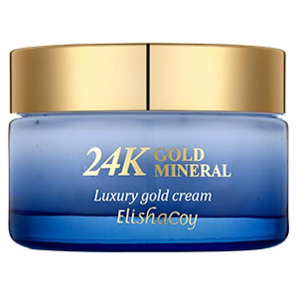крем с минералами и частицами 24к золота elishacoy 24k gold mineral cream24K Gold Mineral Cream.&amp;nbsp;Крем с минералами и частицами 24к золота&amp;nbsp;содержит Blue Complex из водорослей: японская ламинария, порфир, хлорелла, агар. Водоросли содержат полисахариды, аминокислоты, витамины А, В, минеральные соли, йод, протеины, фосфор, железо, цинк. Blue Complex обладает непревзойденными питательными, увлажняющими и восстанавливающими свойствами, способствует синтезу коллагена и эластина.<br><br>Входящие в состав крема масло ши, масло семян макадамии, экстракт маточного молочка, экстракт икры, экстракты трав повышают эластичность и интенсивно питают кожу лица.&amp;nbsp;<br><br>Аденозин и ниацинамид борются с возрастными изменениями и выравнивают цвет лица.<br><br>Частицы 24к золота и экстракт жемчуга активизируют регенерацию клеток кожи и придают неповторимое сияние.<br><br>&amp;nbsp;<br><br>Не содержит: Искусственных красителей, парабенов, минерального масла, бензофенона<br><br>&amp;nbsp;<br><br>Применение: После использования тоника нанесите необходимое количество эссенции и массирующими движениями распределите по коже лица до полного впитывания. Прижмите ладони к лицу для лучшего проникновения.<br><br>&amp;nbsp;<br><br>Состав: Water ,Cetearyl Alcohol,Caprylic/Capric Triglyceride,Macadamia Ternifolia Seed Oil,Glycerin,Butylene Glycol,Cyclopentasiloxane,Cyclohexasiloxane,Niacinamide,Stearic Acid,Dimethicone, Butyrospermum Parkii (Shea Butter),Sodium Hyaluronate,Cetearyl Glucoside,Cyclotetrasiloxane,Sodium Acrylate/Sodium Acryloyldimethyl Taurate Copolymer,Dimethicone/Vinyl Dimethicone crosspolymer,Isohexadecane,Glyceryl Stearate ,PEG- 100 Stearate,Dimethiconol,Adenosine,Illicium Verum (Anise)Fruit Extract,Gold,Sea Water,Chlorella Vulgaris Extract,Laminaria Japonica Extract,Porphyra Yezoensis Extract,Porphyra Yezoensis Extract,Ganoderma Lucidum (Mushroom) Extract,Cnidium Officinale Root Extract,Coptis Japonica Root Extract,Phellinus Linteus Extract,Rheum Palmatum 