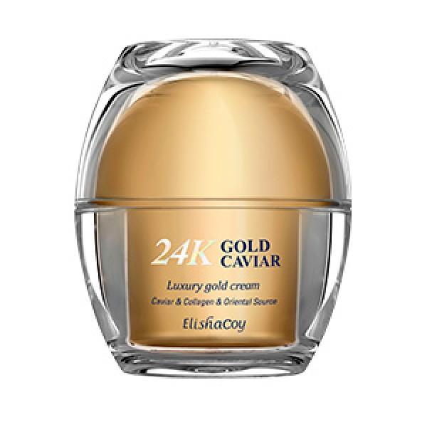 крем с экстрактом икры и частицами 24к золота elishacoy 24k gold caviar cream24K Gold Caviar Cream.&amp;nbsp;Крем с экстрактом икры и частицами 24к золота&amp;nbsp;интенсивно питает кожу благодаря входящим в состав растительному сквалену, маслу ши, маслу семян макадамии, богатому растительному комплексу из экстрактов трав. Ниацинамид, аденозин и комплекс пептидов (Dipeptide Diaminobutyroyl Benzylamide Diacetate(SYN-AKE), Copper Tripeptide-1, Human Oligopeptide-1) борются с возрастными изменениями, дарят коже сияние и упругость.<br><br>Средство содержит частицы 24к золота, которые способствуют обновлению кожи лица и придают сияние.<br><br>Крем с экстрактом икры и частицами 24к золота восстанавливает и усиливает барьерные функции кожи, &amp;nbsp;обладает легкой, нелипкой текстурой и хорошо впитывается.<br><br>Подходит для всех типов кожи.<br><br>&amp;nbsp;<br><br>Не содержит: &amp;nbsp;Искусственных красителей, парабенов, минерального масла, бензофенона<br><br>&amp;nbsp;<br><br>Применение: Нанесите необходимое количество крема на кожу лица и распределите массирующими движениями до полного впитывания. Приложите теплые ладони к лицу &amp;nbsp;для более глубокого впитывания.<br><br>&amp;nbsp;<br><br>Состав: Water ,Glycerin,Caprylic/Capric Triglyceride,Cyclopentasiloxane,Butylene Glycol,Cyclohexasiloxane, Butyrospermum Parkii (Shea Butter),Diisostearyl Malate,Dimethicone, Niacinamide,Cetearyl Alcohol,Polysorbate 60,Macadamia Ternifolia Seed Oil,Stearic Acid,Sodium Hyaluronate,Behenyl Alcohol,Limnanthes Alba (Meadowfoam) Seed Oil,Glyceryl Stearate<br><br>SE,Caviar Extract,Gold,PEG-100 Stearate,Glyceryl Stearate ,Tocopheryl Acetate,Betaine,Squalane,Adenosine,Illicium Verum(Anise)Fruit Extract,Argania Spinosa Kernel Oil, Panax Ginseng Root Extract,Plukenetia Volubilis Seed Oil,Coptis Japonica Root Extract,Cnidium Officinale Root Extract,Angelica Gigas Root Extract,Rheum Palmatum Root Extract,Phellinus Linteus Extract,Ganoderma Lucidum (Mushroom) Extract,Hydrolyzed Collagen,A