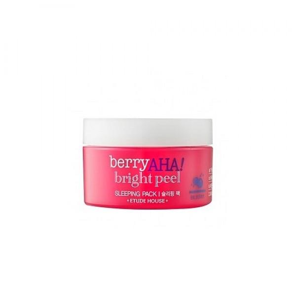 маска ночная отшелушивающаяBerry Aha Bright Peel Sleeping Pack. Маска ночная отшелушивающая с эффектом пилинга для сияния кожи<br><br>Сон дарит отдых всему организму, а ночной сон способствует регенерации клеток эпидермиса и восстанавливает все обменные функции. Но, к сожалению, с возрастом такие обновления замедляются, да и полноценный отдых не всегда возможен. И по утрам в зеркале можно увидеть тусклую, отекшую, уставшую кожу, круги под глазами.<br><br>&amp;nbsp;<br><br>Ночные маски для лица помогут значительно улучшить ситуацию и ускорить восстанавливающую деятельность, действуя на кожу во время сна, когда она полностью расслаблена.<br><br>&amp;nbsp;<br><br>Ночная маска Etude House Berry AHA Bright Peel Sleeping Pack оказывает пилинговое действие, способствует отшелушиванию омертвевших клеток кожи, благодаря чему убирает следы усталости и снимает отечность, увлажняет, освежает и тонизирует кожу, повышает ее упругость и эластичность, укрепляет защитные функции, дарит коже естественное сияние.<br><br>&amp;nbsp;<br><br>В составе маски экстракт черники, молочная кислота, гиалуроновая кислота, масло арганы, а также экстракты водорослей, сахарного тростника, лимона, амаранта и др.<br><br>&amp;nbsp;<br><br>Экстракт черники является источником мощных природных антиоксидантов, благодаря которым замедляются возрастные изменения кожи. Экстракт черники увлажняет, питает и витаминизирует кожу, тонизирует ее и способствует укреплению сосудов, регулирует работу сальных подкожных желез и сужает поры, устраняет воспаления, борется с болезнетворными микроорганизмами, устраняет отечность, нейтрализует действие свободных радикалов и защищает от негативного воздействия окружающей среды, разглаживает морщины и выравнивает цвет лица.<br><br>&amp;nbsp;<br><br>Молочная кислота – абсолютно физиологичная для кожи AHA кислота, так как она присутствует в роговом слое кожи и является одним из компонентов натурального увлажняющего фактора. Молочная кислота может использоваться для пилинга даже