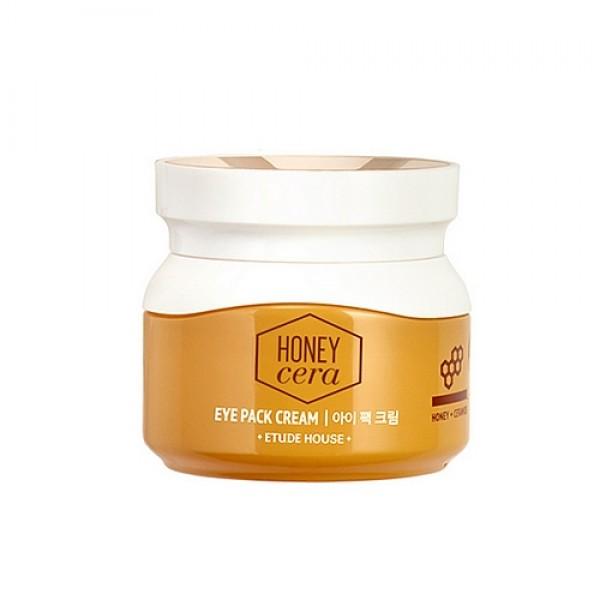 крем-маска для век с экстрактом медаHoney Cera Eye Pack Cream. Крем-маска для век с экстрактом меда<br><br>Достаточно плотный и насыщенный крем тает при соприкосновении с кожей и быстро впитывается. Крем-маска разработан для ухода за нежной кожи век, оказывает выраженное питательное и омолаживающее действие.<br><br>&amp;nbsp;<br><br>В составе крема вытяжка из натурального меда, керамиды, гиалуроновая кислота, экстракт маточного молочка, аденозин и другие, полезные для кожи, компоненты.<br><br>&amp;nbsp;<br><br>Экстракт мёда обладает непревзойденными свойствами и великолепно ухаживает за кожей, особенно за сухой и увядающей. Экстракт меда замечательно питает кожу, смягчает и увлажняет, оказывает подтягивающее и тонизирующее действие, делает ее упругой и эластичной, способствует разглаживанию неглубоких морщин.<br><br>&amp;nbsp;<br><br>Керамиды уменьшают избыточное испарение влаги через кожу, предупреждая ее обезвоживание и увядание. Оберегают кожу от проникновения и воздействия токсинов, бактерий и даже вирусов. Керамиды способствуют сцеплению клеток друг с другом, поддерживая нормальное состояние кожи, устраняют шелушения.<br><br>&amp;nbsp;<br><br>Гиалуроновая кислота компенсирует недостаток собственной гиалуроновой кислоты и помогает сохранить естественную влажность кожи, создавая на ее поверхности незаметную защитную пленочку. При высокой влажности воздуха, способна всасывать влагу, способствуя увеличению ее содержания в роговом слое кожи.<br><br>&amp;nbsp;<br><br>Аденозин регулирует кровоток и обеспечивает клетки кожи энергией, значительно увеличивает выработку коллагена и эластина, смягчает и подтягивает кожу, восстанавливает ее после воздействия ультрафиолета, расслабляет лицевые мышцы, что способствует разглаживанию морщин.<br><br>&amp;nbsp;<br><br>Для максимальной эффективности рекомендуется использовать крем в комплексе с сывороткой ETUDE HOUSE Honey Cera Priming Eye Serum.<br><br>&amp;nbsp;<br><br>Способ применения: Нанести на кожу вокруг глаз мягкими круго
