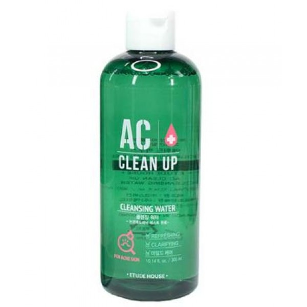 очищающая вода для проблемной кожи etude house  ac clean up cleansing waterAC Clean Up Cleansing Water. Очищающая вода для проблемной кожи<br><br>Уход за проблемной кожей лица должен быть максимально эффективным и при этом – максимально деликатным. Очищение проблемной кожи является одним из важнейших этапов ухода.<br><br>Средство для снятия макияжа, разработанное специально для проблемной кожи с акне и для чувствительной кожи. Прекрасно справляется с тональными средствами (в том числе BB- и СС-крем, консилер), декоративной косметикой, даже самой стойкой.<br><br>Такое средство будет очень удобно в путешествиях, особенно в те места, где есть проблемы с водой. Очищающая вода не требует наличия водопровода, пенки и гидрофильного масла, необходимы только ватные диски – и кожа лица будет чистая и свежая.<br><br>Одновременно с очищением, вода оказывает оздоравливающее действие: увлажняет и успокаивает кожу, ускоряет заживление воспалений и предупреждает появление новых, снимает зуд и раздражения, уменьшает покраснения, регулирует работу сальных желез, матирует, выравнивает тон кожи.<br><br>Мадекасоссид (Madecassoside) – биологически активное соединение из центеллы азиатской с мощным противовоспалительным действием. Помогает справиться с хроническим акне, ускоряет заживление кожных покровов даже после хирургических вмешательств. Благодаря восстанавливающим и антиоксидантным свойствам&amp;nbsp; мадекасоссида и его способности увеличивать синтез коллагена, используется в средствах для зрелой кожи.<br><br>Экстракт хиноки (японского кипариса) обладает сильным лечебным, антибактериальным и противовспалительным действием, ускоряет заживление различных воспалений, нормализует обмен веществ, регулирует выработку меланина и работу сальных желез, мягко отшелушивает омертвевшие клетки кожи.<br><br>Экстракт папайи способствует отшелушиванию ороговевших клеток кожи, стимулирует регенерацию, регулирует работу сальных желез кожи, разглаживает морщины и осветляет пигментацию.<br><br>Масло 