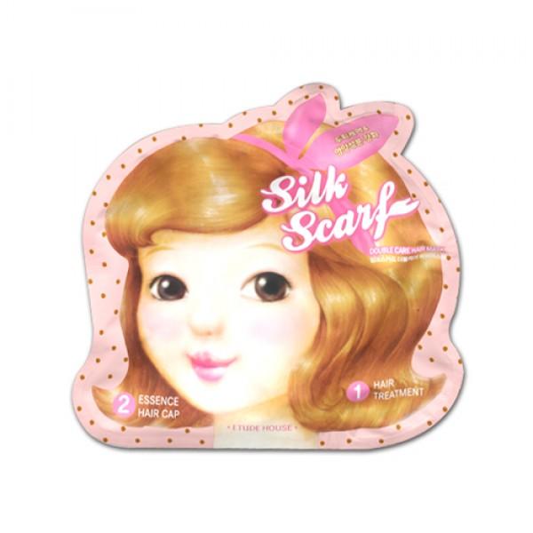 маска для волос восстанавливающаяSilk Scarf Double Care Hair Mask. Маска для волос восстанавливающая<br><br>Известная и всем полюбившаяся компания из Кореи Etude House в очередной раз порадует своих поклонниц оригинальным и действенным продуктом. Это восстанавливающая маска с шапочкой для лечения слабых и поврежденных волос из серии «Шелковый шарф» с двойным уходом.<br><br>После частого и интенсивного применения краски для волос, химической завивки, а также сушки феном, волосы утрачивают блеск, здоровый вид и привлекательность. Практичное и эффективное средство - корейская маска для волос из линейки Silk Scarf противостоит этим неприятностям.<br><br>Вы без особых затрат приведете в порядок плачевное состояние своих волос - в лучших традициях восточной косметологии с использованием экстрактов целебных трав календулы, жожоба, вытяжки из грейпфрута.<br><br>Вышеуказанные экстракты трав в комплексе к керамидами укрепляют корни волос, питают, увлажняют луковицы волос и всю длину волос, которые смягчаются и разглаживаются, приобретая блеск и объём. <br><br>Особенностью данного продукта является комплексный подход к решению проблемы, в наборе вы найдете две вещи – средство для интенсивного ухода за повреждёнными и слабыми волосами + шапочка, которые обеспечат максимальный двойной эффект от лечения.<br><br>Способ применения: вымыть волосы, слегка их промокнуть, и на еще не высохшие волосы нанести представленную маску. После чего наденьте шапочку, помассируйте хорошенько голову. Оставьте средство максимум на 15 минут, освободите волосы от шапочки, и смойте водой.<br><br>Вес набора: 15 г +5 г<br><br>Вес г: 20.00000000