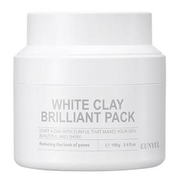 очищающая маска для лица с белой глиной eunyul white clay brilliant packWhite Clay Brilliant Pack.&amp;nbsp;Очищающая маска для лица с белой глиной<br><br>Начните свой день с маской, которая делает кожу красивой и сияющей. Маска с белой глиной очищает кожу, контролирует чистоту пор, способствует их сужению, наполняет лицо бриллиантовым сиянием.<br><br>В составе маски белая глина, а также комплекс натуральных экстрактов и масел.<br><br>Белая глина (каолин) – полностью натуральный компонент, который действенно ухаживает за кожей. Белая глина содержит минеральные соли и микроэлементы, помогающие сохранить красоту и здоровье кожи. Глина прекрасно очищает кожу от пыли, себума, отмерших клеток, выводит шлаки и токсины.<br><br>Маска с белой глиной улучшает кровообращение, нормализует работу сальных желез, помогает справиться с воспалениями и предупреждает появление новых, способствует сужению пор, повышает эластичность кожи, выравнивает и улучшает цвет лица.<br><br>Способ применения: Нанести маску на лицо, избегая области вокруг глаз и губ, через 15-20 минут, когда маска подсохнет, смыть теплой водой.<br><br>Объём: 100 мл<br>