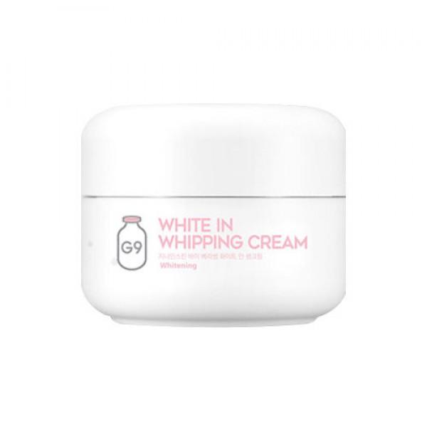 крем для лица осветляющий с экстрактом молочных протеинов berrisom g9 white in whipping creamG9 White In Whipping Cream. Крем для лица осветляющий с экстрактом молочных протеинов<br><br>Крем с нежной текстурой взбитых сливок подарит коже лица настоящее наслаждение, а также непревзойденный уход, осветлит и омолодит ее. Подходит для любого типа кожи, но особенно рекомендуется для сухой, тусклой и усталой кожи.<br><br>В составе крема мощный антивозрастной и осветляющий комплекс.<br><br>Экстракт молочных протеинов оказывает мощное регенерирующее, увлажняющее, смягчающее действие, глубоко питает. Воздействуя на кожу, молочные протеины обновляют эпидермис, так как стимулируют процесс роста молодых клеток, а также активируют синтез коллагена. Кроме того, молочные протеины обладают противовирусными и противомикробными свойствами. Молочные протеины хорошо усваиваются кожей и при регулярном применении крема она становится гладкой, бархатистой и упругой.<br><br>Ниацинамид способствует осветлению пигментных пятен, корректирует неровный тон кожи, смягчает следы постакне и поствоспалительную гиперпигментацию. Обеспечивает мощное клеточное обновление кожи, предотвращает потерю влаги. Является сильным антиоксидантом, защищающим кожу от агрессивного воздействия ультрафиолета и свободных радикалов.<br><br>Аденозин наполняет клетки кожи энергией, стимулирует синтез коллагена и эластина, смягчает и подтягивает кожу, восстанавливает ее после воздействия ультрафиолета, расслабляет лицевые мышцы, что способствует разглаживанию морщин. При регулярном применении крем осветляет пигментацию, веснушки, следы пост-акне, устраняет тусклый оттенок кожи, выравнивает тон, лицо становится свежим и сияющим.<br><br>Способ применения: Нанести крем на последнем этапе по уходу за кожей.<br><br>Вес: 50 гр.<br><br>Вес г: 50.00000000
