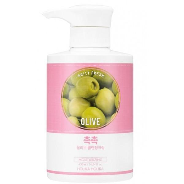 очищающий крем для сухой кожи holika holika daily fresh olive cleansing creamDaily Fresh Olive Cleansing Cream.&amp;nbsp;Очищающий крем для сухой кожи<br><br>Очистить кожу лица от пыли, кожного жира, отмерших частиц эпидермиса и косметики помогает специальный освежающий крем. Его мягкая текстура хорошо распределяется по коже, растворяет все загрязнения и бережно удаляет их с кожи, предупреждая забивание пор и появление комедоны, акне и других неприятностей.<br><br>Экстракт оливы – источник флавоноидов и каротинов, нейтрализующих вредное влияние ультрафиолетового излучения, а также витаминов-антиоксидантов A, D и E, уменьшающих отрицательное экологическое воздействие иссушающей жары, мороза, токсинов, смога и пыли. В составе крема экстракт оливы способствует деликатному очищению кожи, увлажняет, питает и смягчает ее, замедляет процессы старения. Очищающий крем с экстрактом оливы делает кожу молодой, гладкой и бархатистой, мимические морщины разглаживаются, цвет лица становится ровным и свежим.<br><br>Способ применения: Нанесите на сухую кожу лица, мягко распределите по массажным линиям, помассирйте до растворения загрязнений и макияжа, затем удалите с лица сухой салфеткой. При желании можно умыть лицо пенкой.<br><br>Объем: 430 мл.<br>