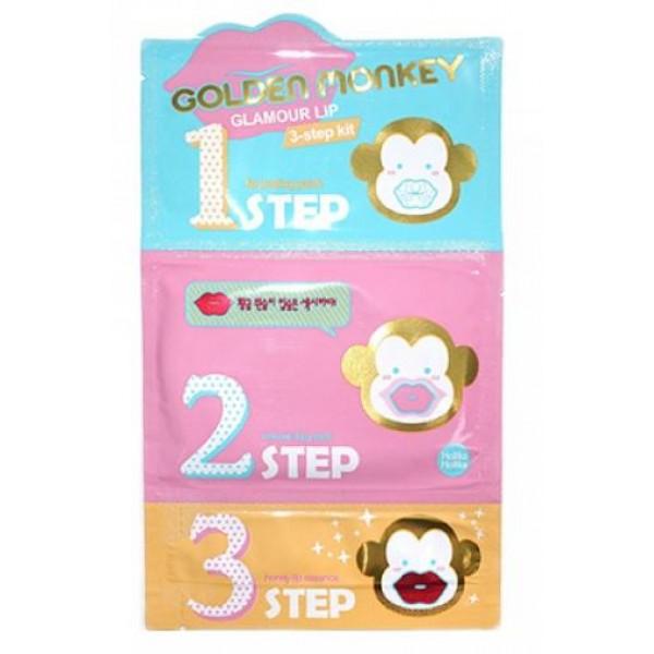 3-х ступенчатый набор средств для ухода за губами holika holika golden monkey glamour lip 3-step kitGolden Monkey Glamour Lip 3-Step Kit.&amp;nbsp;3-х ступенчатый набор средств для ухода за губами<br><br>Он сделает губы мягкими, пухленькими, блестящими, сводящими окружающих с ума. Комплекс в три этапа поможет вам избавиться от тусклой, шелушащейся кожи с трещинками быстро и просто, а главное - вы получаете полноценный уход - от очищения до придания блеска, сочности и свежести.<br><br>Шаг 1 – хлопковая салфетка. Используется для деликатного пилинга чувствительной кожи губ. Оказывает мягкое отшелушивающее воздействие, бережно очищает кожу губ. Это небольшого размера салфеточка, хорошо пропитанная средством, имеющем в составе частицы золота, а также грамотно подобранный комплекс растительных экстрактов (эдельвейса, жасмина, лотоса, хризантемы, ромашки, шалфея, розмарина и лаванды). Салфетка очищает нежную кожу от отмерших клеток, способствует заживлению микротрещин, оказывает противовоспалительное, успокаивающее воздействие.<br><br>Шаг 2 – гидрогелевая маска. Она наполняет кожу губ необходимой влагой, наполняя силой и создавая желаемый объем. Среди ингредиентов гидрогелевого патча: - гиалуроновая кислота - создает на поверхности кожи незаметную тончайшую пленку и интенсивно увлажняет кожу, что обеспечивает сохранность воды в клетках кожи; - коллаген - способствует разглаживанию морщин, устраняет сухость кожи, делает кожу упругой, эластичной, подтянутой; - витамин E - улучшает микроциркуляцию крови, нейтрализует воздействие свободных радикалов, замедляет старение, ускоряет регенерацию клеток; - натуральный комплекс из экстракты пиона, лилии, портулака, гамамелиса, масла ши, жожоба.<br><br>Шаг 3 – питательная эссенция на основе из меда с маточным молочком. Последний шаг, придающий коже губ невероятную мягкость и способствующий ее ускоренной регенерации благодаря экстракту меда мануки и маточному молочку. Мед манука обеспечивает интенсивное увлажнение, запускает процессы 