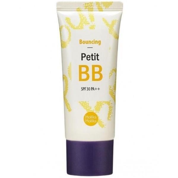 бб крем для лица отражение holika holika petit bb bounсing spf30 pa++Petit BB Bounсing SPF30 PA++.&amp;nbsp;ББ крем для лица Отражение<br><br>Предназначен для всех типов кожи, особенно рекомендован для зрелой или увядающей кожи лица.<br><br>Основными активными компонентами крема являются морской коллаген и экстракт икры, которые помогают интенсивно питать кожу и повысить ее эластичность. Разглаживает морщинки и замедляет процессы старения кожи, позволяя избежать появления преждевременных морщинок. Стимулирует удержание влаги кожей, а также выработку коллагена и выравнивания тона кожи. Защитный фактор крема: SPF 30 PA++.<br><br><br>ББ крем предназначен для кожи, которая нуждается в восстановлении, для кожи, потерявшей упругость и эластичность. Крем эффективно справляется с морщинами и осветляет пигментацию.<br><br>Крем защищает кожу лица от агрессивного воздействия УФ-излучения, имеет солнцезащитный фактор SPF 30 PA++, предотвращает фото-старение кожи и возникновение пигментации.<br><br>Средство хорошо ложится на кожу и обеспечивает идеальное ровное покрытие, без эффекта маски, не сушит кожу. Кожа выглядит свежей, отдохнувшей, ухоженной.<br><br><br>Способ применения: легкими массажными движениями нанесите небольшое количество ВВ крема на предварительно очищенную кожу лица (дополнительно можно наносить на кожу шеи и область декольте). Равномерно распределить кончиками пальцев. Подождите несколько секунд, пока крем впитается и адаптируется к цвету лица.<br><br>Объем: 30 мл<br>