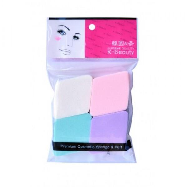 спонж косметический ромб 4 шт/уп k-beauty premium cosmetic sponge &amp; puffPremium Cosmetic Sponge &amp;amp; Puff. Спонж косметический Ромб 4 шт/уп<br><br>Косметический спонж предназначен для нанесения тональных средств (корректора, тонального крема, румян, пудры и т.д.), а также коррекции макияжа. Спонж позволяет равномерно распределить не только сухие, но и кремовые текстуры, а его удобная форма в виде ромба подходит для обработки таких труднодоступных зон, как область вокруг глаз и носогубные складки.<br><br>В упаковке 4 спонжа в виде ромбов разных цветов.<br><br>Мягкий и нежный спонж не травмирует, подходит даже для чувствительной кожи.<br><br>Способ применения: мягко прикоснитесь спонжем к средству, нанесите на лицо и растушуйте. Можно использовать как сухой, так и влажный спонж. По мере загрязнения мойте спонж мылом и сушите вдали от источников тепла. Рекомендуется менять спонж через 1-3 месяца (в зависимости от частоты использования).<br><br>Меры предосторожности: используйте спонж только по назначению. Держите в местах, недоступных для детей.<br><br>Состав: SBR (стирол-бутадиеновая резина).<br><br>Количество: 4 шт<br><br>Вес г: 10.00000000