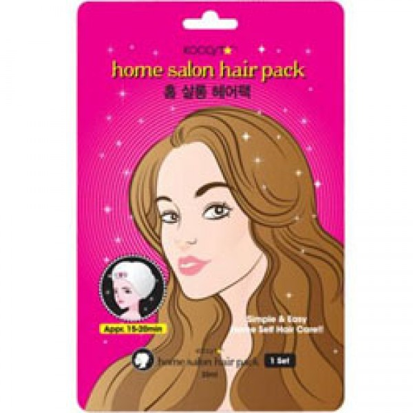 маска для волос восстанавливающаяHome Salon Hair Pack. Маска для волос восстанавливающая<br><br>Теперь, чтобы обеспечить волосам полноценный уход, не обязательно ходить в салон. Специальная маска позволит сэкономить и финансы, и время, поможет слабым и поврежденным волосам вновь наполнится силой, стать шелковистыми и блестящими.<br><br>&amp;nbsp;<br><br>Особенно маска от KOCOSTAR рекомендуется тем, кто часто окрашивает волосы, пользуется фенами и утюжками, делает химическую завивку.<br><br>&amp;nbsp;<br><br>Маска питает волосы и кожу головы, успокаивает раздражения. Натуральные восстанавливающие компоненты маски наполняют волосы жизненной силой, делают их упругими и шелковистыми.<br><br>&amp;nbsp;<br><br>В составе маски:<br><br>Кератин – устраняет тусклость и ломкость волос, возвращает утраченный блеск, наполняет силой, придает объём, делает послушными.<br><br>&amp;nbsp;<br><br>Гидролизованный коллаген – проникает вглубь волоса и сохраняет там влагу, улучшает питание волос, восстанавливает их. Волосы приобретают эластичность и прочность, перестают электризоваться. Коллаген защищает волосы от агрессивной внешней среды (солнца, ветра, холода).<br><br>&amp;nbsp;<br><br>Комплекс фито-экстрактов (портулак, гамамелис, алоэ вера, камелия, лаванда, розмарин и др.) – наполняет кожу головы и волосы необходимыми витаминами и микроэлементами, успокаивает раздражения кожи, увлажняет, питает и кожу, и волосы, улучшает кровоснабжение, регулирует работу сальных желез, устраняет перхоть.<br><br>&amp;nbsp;<br><br>Способ применения: На вымытые и подсушенные волосы надеть шапочку-маску и оставить ее на 15-20 минут, затем маску снять, а остатки средства смыть теплой водой.<br><br>&amp;nbsp;<br><br>Объём: 30 мл<br>