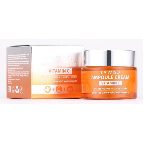 ампульный крем с витамином с la miso ampoule cream vitamin cAmpoule Cream Vitamin C.&amp;nbsp;Ампульный крем с витамином С<br><br>Омолаживающий крем для лица содержит в составе витамин С, который знаменит своими защитными и иммунными свойствами для кожи. Он эффективно предотвращает разрушение клеток под воздействием свободных радикалов, продлевая молодость и здоровье кожи. К тому же, он препятствует возникновению пигментации на коже и ее потускнению.<br><br>Другие природные экстракты, содержащиеся в средстве, способствуют успокоению кожи, снятию воспалительных процессов, раздражений, придают коже гладкость, сияние, мягкость и длительную увлажненность.<br><br>Способ применения: После применения ампульной сыворотки нанесите тонким слоем на сухую и чистую кожу лица. Для лучшего впитывания похлопайте подушечками пальцев по коже, как бы «вбивая» крем и помогая ему впитаться. Теперь про него можно забыть, так как через несколько минут он высохнет и полностью войдет в верхние слои кожи, откуда будет распространяться вглубь и насыщать покровные ткани.<br><br>Объем: 50 мл<br>