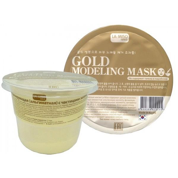 маска моделирующая с частицами золота la miso gold modeling maskАльгинатные маски La Miso содержат целый комплекс полезных элементов: альгиновую кислоту, фолиевую кислоту, протеины, минеральные элементы, витамины A, B1, B6, B12, C, D, E полисахариды. Благодаря этому маски La Miso улучшают обменные процессы, выводят токсины, успокаивают покрасневшую и раздраженную кожу, увлажняют, оказывают эффект лифтинга.<br><br>Маска с частицами золота способствует обновлению кожи лица и придает здоровое сияние.<br><br>Тип кожи: кожа любого типа<br><br>Состав: Glucose, Diatomaceous Earth, Algin, Calcium sulfate, Tetrapotassium Pyrophosphate, Potassium Alginate, Magnesium Carbonate, Colloidal Gold, Centella Asiatica Extract, Scutellaria Baicalensis Root Extract, Mentha Piperita (Peppermint) Oil, Mentha Piperita (Peppermint) Leaf, Portulaca Oleracea Extract, Mica, Titanium Dioxide, Synthetic Fluorphlogopite, CI 77491, CI 77492, Sodium Benzoate, Fragrance<br><br>Применение:<br><br>1. Нанесите тоник на очищенную кожу лица<br>2. Подготовьте маску. Размешайте порошок с водой комнатной температуры до образования густой однородной массы. Лопатка для смешивания и нанесения маски входит в набор.<br>3. Нанесите получившуюся маску на кожу лица. Через 15-20 минут снимите затвердевшую маску и удалите остатки тоником или влажным спонжем.<br>4. Нанесите на кожу лица увлажняющий крем.<br><br>Вес г: 28.00000000