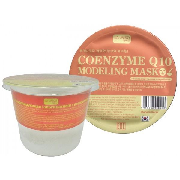 маска моделирующая  с коэнзимом q10 la miso маска альгинатная с коэнзимом q10Альгинатные маски La Miso содержат целый комплекс полезных элементов: альгиновую кислоту, фолиевую кислоту, протеины, минеральные элементы, витамины A, B1, B6, B12, C, D, E полисахариды. Благодаря этому маски La Miso улучшают обменные процессы, выводят токсины, успокаивают покрасневшую и раздраженную кожу, увлажняют, оказывают эффект лифтинга.<br><br>Маска с коэнзимом Q10 разглаживает и возвращает тонус зрелой коже, оказывает антиоксидантный эффект.<br><br>Тип кожи: зрелая кожа любого типа<br><br>Состав: Diatomacous Earth, Glucose, Algin, Calcium Sulfate, Tetrapotassium Pyrophosphate, Potassium Alginate, Hydrolyzed Collagen, Allantoin, Betaine, Adenosine, Portulaca Oleracea Extract, Centella Asiatica Extract, Cellulose Gum, Simmondisa Chinensis (Jojoba) Seed Oil, Squalane, Tocopherol, CI 19140, Ubiquinone, Butylene Glycol, Sodium Benzoate, Fragrance<br><br>Применение: <br><br>1. Нанесите тоник на очищенную кожу лица<br>2. Подготовьте маску. Размешайте порошок с водой комнатной температуры до образования густой однородной массы. Лопатка для смешивания и нанесения маски входит в набор.<br>3. Нанесите получившуюся маску на кожу лица. Через 15-20 минут снимите затвердевшую маску и удалите остатки тоником или влажным спонжем.<br>4. Нанесите на кожу лица увлажняющий крем. Объем: 28г Бренд: LA MISO<br><br>Вес г: 28.00000000