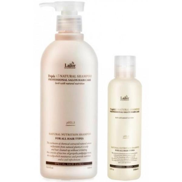 шампунь с натуральными ингредиентамиTriplex Natural Shampoo. Шампунь с натуральными ингредиентами<br><br>Средства для ухода за волосами и кожей головы от La'dor – это профессиональные линии, сочетающие традиции восточной медицины с передовыми разработками корейских ученых. Прежде всего, средства Lador предназначены для поврежденных волос. Инновационная формула средств воссоздает первоначальную целостность волос, способствует восстановлению гидролипидной оболочки волосяных стержней, которая служит естественной защитой здоровых волос.<br><br>&amp;nbsp;<br><br>Компания La'dor разработала органический шампунь, максимально натуральный, содержащий экологически чистые и сертифицированные экстракты и эфирные масла.<br><br>&amp;nbsp;<br><br>Средство имеет нейтральный pH баланс 5,5, особенно рекомендуется для чувствительной кожи головы. Также шампунь благотворно воздействует на сухие, непослушные, безжизненные волосы.<br><br>&amp;nbsp;<br><br>В составе шампуня неагрессивная мягкая и также натуральная моющая основа, которая мягко очищает от повседневных загрязнений и секреции сальных желез, не повреждая ни волосы, ни кожу.<br><br>&amp;nbsp;<br><br>Экстракты зеленого чая и черной смородины, эфирные масла лаванды и лимона, а также другие натуральные компоненты увлажняют, освежают и успокаивают кожу головы, устраняют перхоть, укрепляют волосы. Благодаря природным антиоксидантам обеспечивают защиту от разрушающего воздействия свободных радикалов, уменьшают негативное воздействие окружающей среды.<br><br>&amp;nbsp;<br><br>НЕ содержит сульфатов, парабенов и силикона.<br><br>&amp;nbsp;<br><br>Способ применения: Нанести шампунь на влажные волосы, вспенить и помассировать, затем смыть теплой водой.<br><br>&amp;nbsp;<br><br><br>Шампунь доступен в двух объемах:<br><br><br>530 мл<br><br>150 мл<br><br><br><br>&amp;nbsp;<br>
