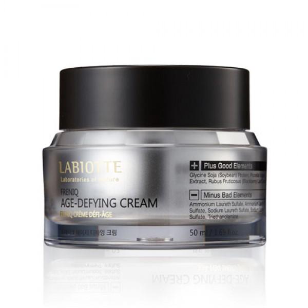 крем для лица защитный антивозрастной labiotte freniq age-defying creamFreniq Age-Defying Cream. Крем для лица защитный антивозрастной<br><br>Крем содержит экстракт пророщенной сои, натуральный коллагеновый ускоритель (6 пептидов и аминокислот), бета-глюкан и т.д .<br><br>Крем восстанавливает, укрепляет тургор кожи, обеспечивает оптимальное увлажнение и питание кожи. Текстура крема реагирует на температуру кожи, помогая питательным веществам проникать в более глубокие слои кожи.<br><br>Экстракт сои способствует поддержанию увлажненности, эластичности, упругости кожи, стимулирует обновление клеток кожи, ускоряя созревание и дифференцировку кератиноцитов.<br><br>Пептиды играют важную роль в восстановлении нормального функционирования клеток, они обладают высокой антиоксидантной активностью, поэтому кожа при их воздействии омолаживается, а общее старение – замедляется.<br><br>Способ применения: наносите крем на последнем этапе ежедневного ухода, дайте время для полного впитывания средства.<br><br>Объем:&amp;nbsp;50 мл<br>
